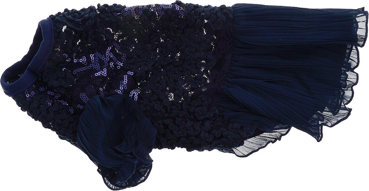 Платье для собак Pret-a-Pet , для девочки, цвет: темно-синий. Размер M0120710Плиссированное платье для собак Pret-a-Pet , изготовленное из полиэстера, ажурного текстиля (кружева) и вискозы, отлично подойдет для прогулок в сухую погоду.Низ изделия снабжен подкладкой. Платье украшено пайетками и оснащено внутренней резинкой, благодаря чему его легко надевать и снимать.В таком платье вашему питомцу будет комфортно наслаждаться прогулкой или играми дома.Длина по спинке: 27-29 см.Объем груди: 37-39 см.Обхват шеи: 28 см.