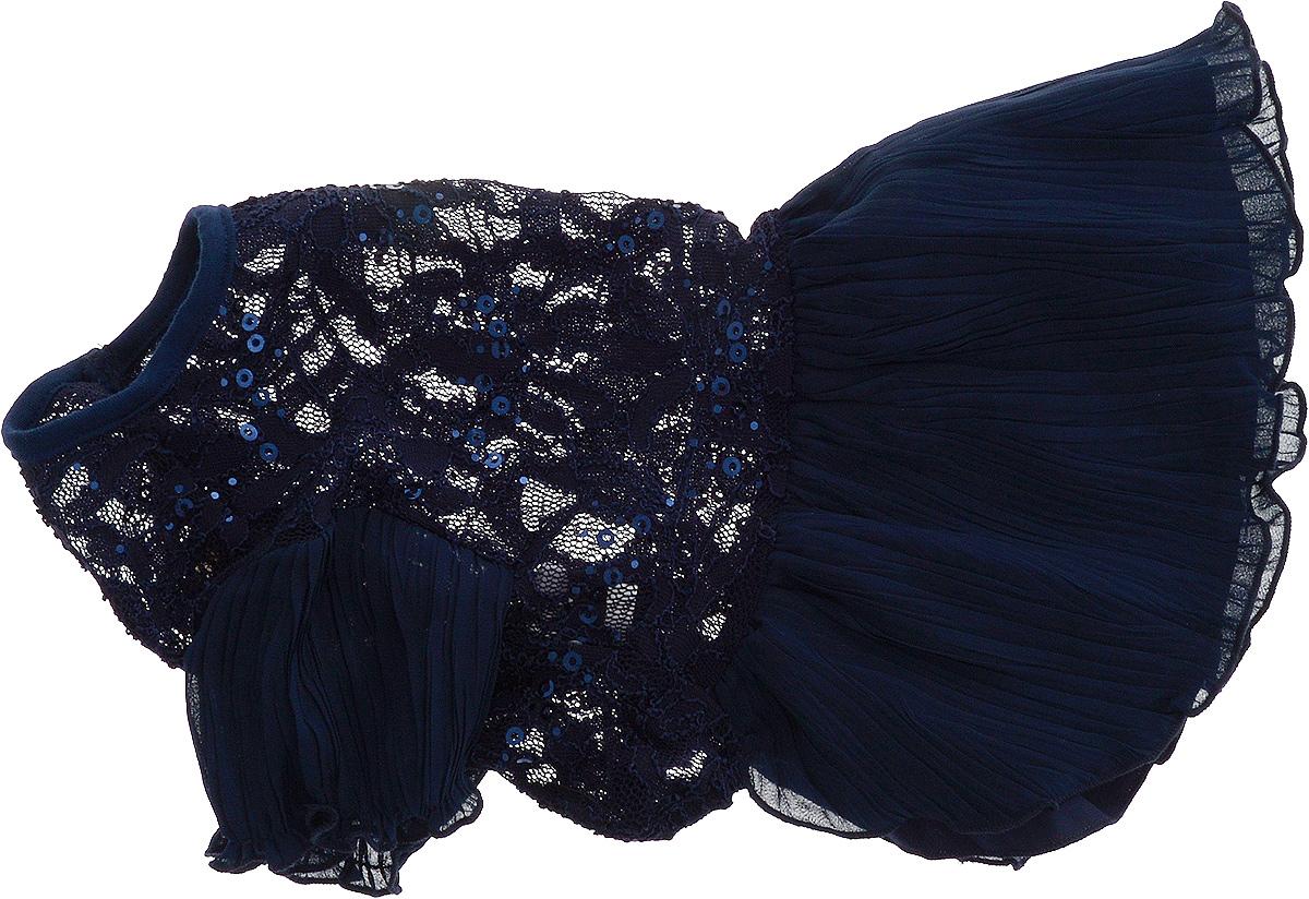 Платье для собак Pret-a-Pet , для девочки, цвет: темно-синий. Размер LDM-150311-2_желтые манжетыПлиссированное платье для собак Pret-a-Pet , изготовленное из полиэстера, ажурного текстиля (кружева) и вискозы, отлично подойдет для прогулок в сухую погоду.Низ изделия снабжен подкладкой. Платье украшено пайетками и оснащено внутренней резинкой, благодаря чему его легко надевать и снимать.В таком платье вашему питомцу будет комфортно наслаждаться прогулкой или играми дома.Длина по спинке: 28-30 см.Объем груди: 43-45 см.Обхват шеи: 30 см.
