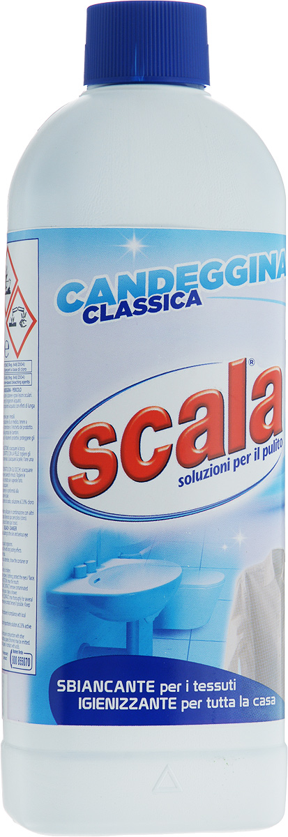 Отбеливатель классический SCALA, 1 лK100Отбеливатель классический SCALA на основе хлора деликатно отбеливает, удаляет пятна, дезинфицирует ткани и поверхность сантехники. Товар сертифицирован.