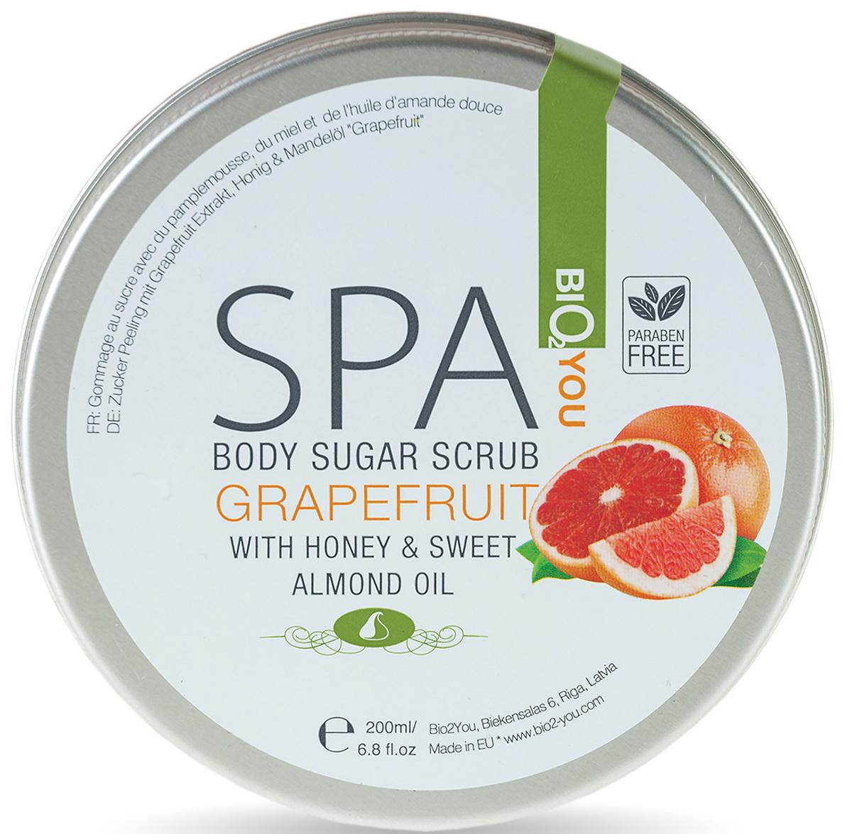 BIO2You Сахарный скраб с медом и маслом сладкого миндаля Грейпфрут, 200 млAC-1121RDОчищает от загрязняющих веществ, токсинов и мертвых клетoк кожи, одновременно питая и увлажняя ее. Улучшает кровообращение и тонус кожи, стимулирует обновление клеток. Применение: Нанести на влажную кожу, затем смойте теплой водой.