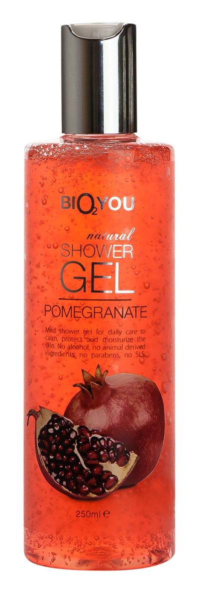 BIO2You Гель для душа Гранат, 250 мл887257Нежный гель для душа для ежедневного использования, успокаиваeт и увлажняeт кожу. Не содержит спиртa, продукты животного происхождения, парабены и SLS.