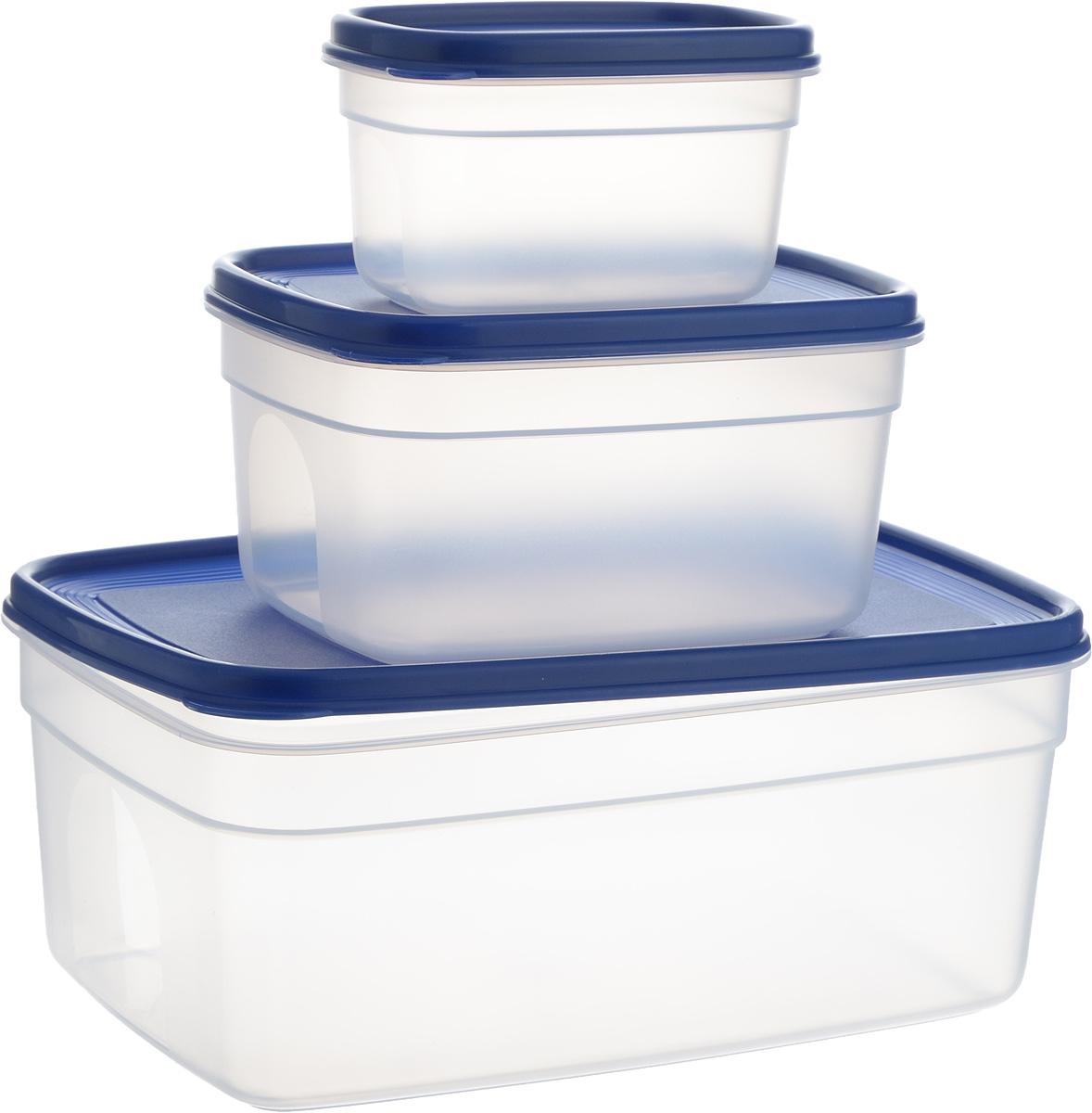 Набор контейнеров Emsa Superline, 3 шт4630003364517Набор контейнеров Emsa Superline состоит из 3 прямоугольных контейнеров разного размера. Контейнеры выполнены из прочного пищевого пластика без содержания BPA. Изделия имеют плотно закрывающиеся мягкие крышки, которые позволяют продуктам дольше оставаться свежими и защищают от попадания грязи и влаги. Набор отлично подойдет для использования дома и на даче, контейнеры небольших размеров удобно брать с собой на работу или учебу. Изделия можно использовать в СВЧ при температуре до +110°С, ставить в холодильник при температуре -40°С, а также мыть в посудомоечной машине. Крышки выдерживают температуру от -40°С до +80°С. Объем контейнеров: 500 мл, 1,7 л, 4,5 л. Размер контейнеров: 14 х 9 х 8 см, 19 х 15 х 10 см, 29 х 19 х 12 см.