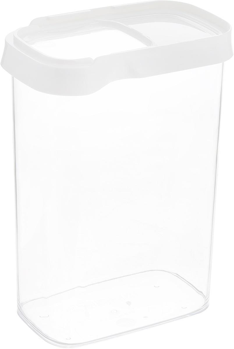 Контейнер для сыпучих продуктов Emsa Optima, 2,2 л. 514552FA-5125 WhiteКонтейнер Emsa Optima выполнен из прочного пищевого пластика без содержания BPA. Прозрачные стенки позволяют видеть количество содержимого. Изделие имеет плотно закрывающуюся крышку с прозрачным окошком, которая открывается движением в сторону. Изделие не накапливает запахов, легко моется, практично в использовании. Идеально подходит для хранения различных сыпучих продуктов: круп, чая, кофе, сахара, сухофруктов, орехов.Можно мыть в посудомоечной машине.