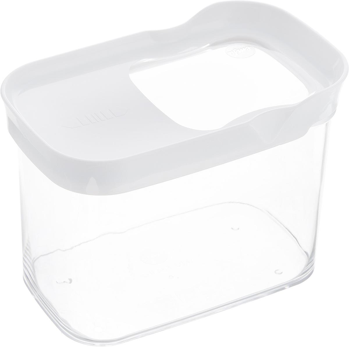 Контейнер для сыпучих продуктов Emsa Optima, 1 л. 514550FA-5126-2 WhiteКонтейнер Emsa Optima выполнен из прочного пищевого пластика без содержания BPA. Прозрачные стенки позволяют видеть количество содержимого. Изделие имеет плотно закрывающуюся крышку с прозрачным окошком, которая открывается движением в сторону. Изделие не накапливает запахов, легко моется, практично в использовании. Идеально подходит для хранения различных сыпучих продуктов: круп, чая, кофе, сахара, сухофруктов, орехов. Можно мыть в посудомоечной машине.
