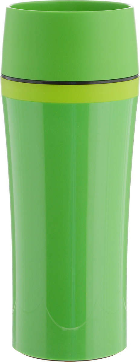 Термокружка Emsa Travel Mug Fun, цвет: зеленый, 360 млVT-1520(SR)Термокружка Emsa Travel Mug Fun - это идеальный попутчик в дороге - не важно, по пути ли на работу, в школу или во время похода по магазинам. Вакуумная кружка на 100 % герметична. Корпус выполнен из высококачественного пищевого пластика и имеет двойные стенки, благодаря чему температура жидкости сохраняется долгое время. Термокружка открывается нажатием кнопки, можно пить из нее с любой стороны. Пробка разбирается и превосходно моется. Дно кружки выполнено из силикона, что препятствует скольжению. Кружка легкая и не занимает много места. Можно мыть в посудомоечной машине. Диаметр кружки по верхнему краю: 8 см.Диаметр дна кружки: 7 см.Высота кружки: 20 см.