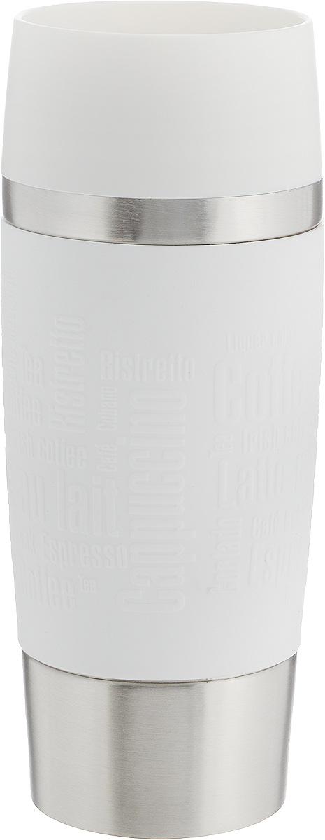 Термокружка Emsa Travel Mug, цвет: белый, стальной, 360 мл513552Термокружка Emsa Travel Mug - это идеальный попутчик в дороге - не важно, по пути ли на работу, в школу или во время похода по магазинам. Вакуумная кружка на 100% герметична. Кружка имеет вакуумную колбу из нержавеющей стали с двойными стенками, благодаря чему температура жидкости сохраняется долгое время. Кружку удобно держать благодаря силиконовому покрытию Soft Touch с оригинальным рельефом в виде надписей. Изделие открывается нажатием кнопки. Пробка разбирается и превосходно моется. Дно кружки выполнено из противоскользящего материала. Можно мыть в посудомоечной машине. Диаметр кружки по верхнему краю: 8 см.Диаметр дна кружки: 6,5 см.Высота кружки: 20 см.Сохранение холодной температуры: 8 ч.Сохранение горячей температуры: 4 ч.