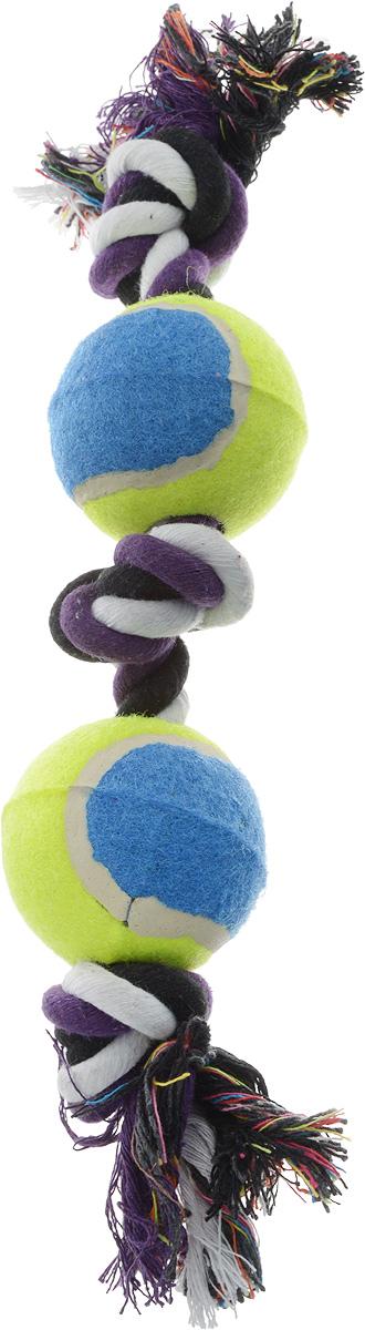Игрушка для собак Каскад Канат. 3 узла + 2 мяча, цвет: синий, салатовый, длина 35 см0120710Игрушка для собак Каскад Канат. 3 узла + 2 мяча станет любимым предметом для вашего питомца. Игрушка прочная и может выдержать огромное количество часов игры. Это идеальная замена косточке. Также изделие подойдет для бросков и игры в перетягивание. Игрушка представляет собой канат с двумя мячами.Длина игрушки: 35 см.Диаметр мяча: 6 см. Уважаемые клиенты! Обращаем ваше внимание на возможные изменения в цвете деталей товара. Поставка осуществляется в зависимости от наличия на складе.