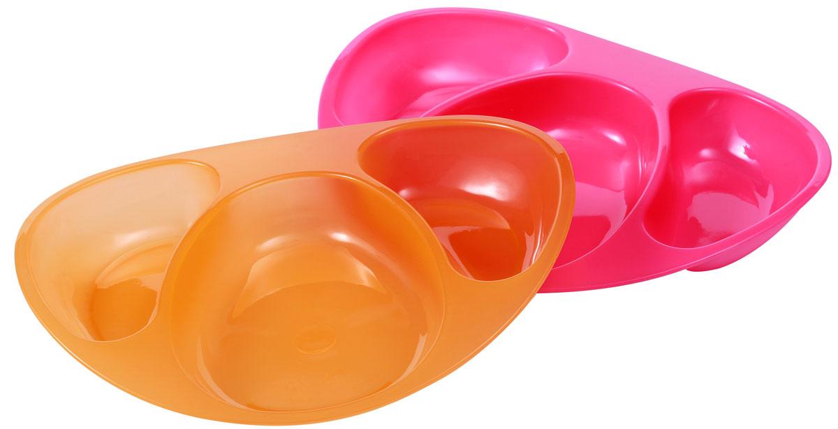 BabyOno Тарелка детская цвет фуксия оранжевый 2 шт54 009312Детская секционная тарелка BabyOno - это идеальный в повседневном использовании набор для детей с 6-месячного возраста. Три отдельные секции обеспечивают сервировку трех различных блюд, не допуская их смешивания, благодаря чему ребенок может познавать и различать новые вкусы. Изделие особенно полезно в период расширения рациона.Не содержит бисфенол А.
