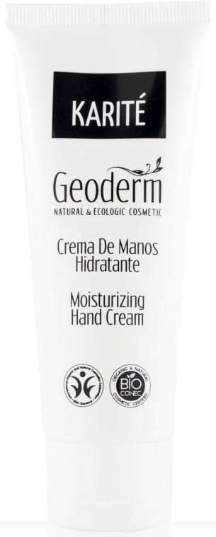 Geoderm Увлажняющий крем для рук Карите, 75 мл8545Крем заботится о ваших руках, погружая их в мягкость и комфорт, защищает от внешних воздействий. Обогащенный органическими маслами ши (карите) и сладкого миндаля, богатыми витаминами A, E и F, крем питает, восстанавливает эластичность, увлажняет и защищает кожу естественным путем.Благодаря своей текстуре крем легко впитывается и прекрасно ухаживает за кожей рук.