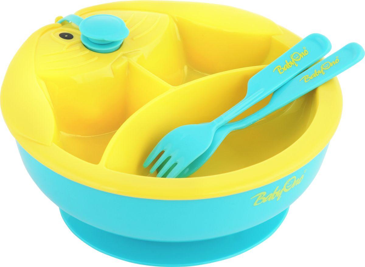 BabyOno Тарелка с подогревающим дном цвет желтый бирюзовый115510Практичная и функциональная тарелка с подогревающим дном BabyOno станет незаменимым помощником при кормлении малыша. Подогреваемое дно миски позволяет дольше поддерживать соответствующую температуру пищи - достаточно наполнить подставку тарелки теплой водой, и она будет согревать пищу, что позволит малышу не спешить и сделает кормление более комфортным для родителей. Три секции позволяют разделить пищу, а присоска на дне предотвращает перемещение миски по столу. Такая тарелка идеально подойдет для освоения навыков самостоятельного приёма пищи. Она изготовлена из безопасных материалов, предназначенных для контакта с пищей. В комплект входят столовые приборы - ложка и вилка.