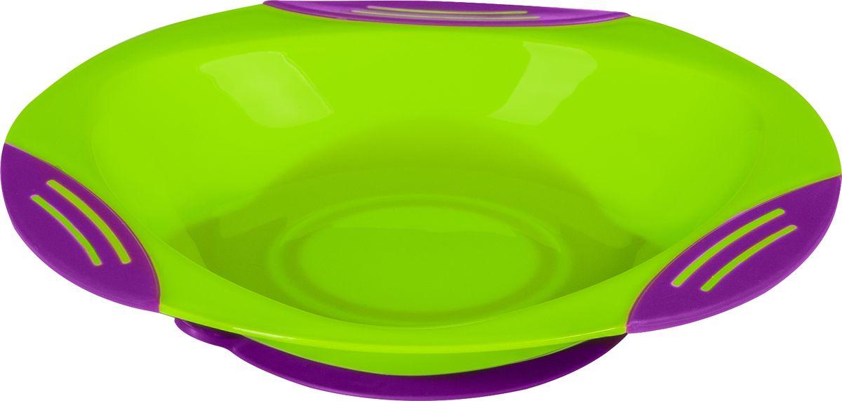 BabyOno Тарелка на присоске цвет салатовый фиолетовый115510Детская тарелочка BabyOno с удобной присоской идеально подойдет для кормления малыша и обучения его самостоятельному приему пищи.Тарелочка выполнена из безопасного прозрачного полипропилена, не содержащего Бисфенол А. Специальная резиновая присоска фиксирует тарелку на столе, благодаря чему она не упадет, еда не прольется, а ваш малыш будет доволен. Широкие бортики тарелочки не позволят еде просыпаться или пролиться.