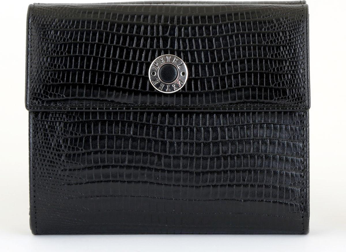 Портмоне женское Petek 1855, цвет: черный. 335.041.01BM8434-58AEНатуральная кожа, Рептилия, Вертикальное, С отделением для монет / С отделением для кредиток