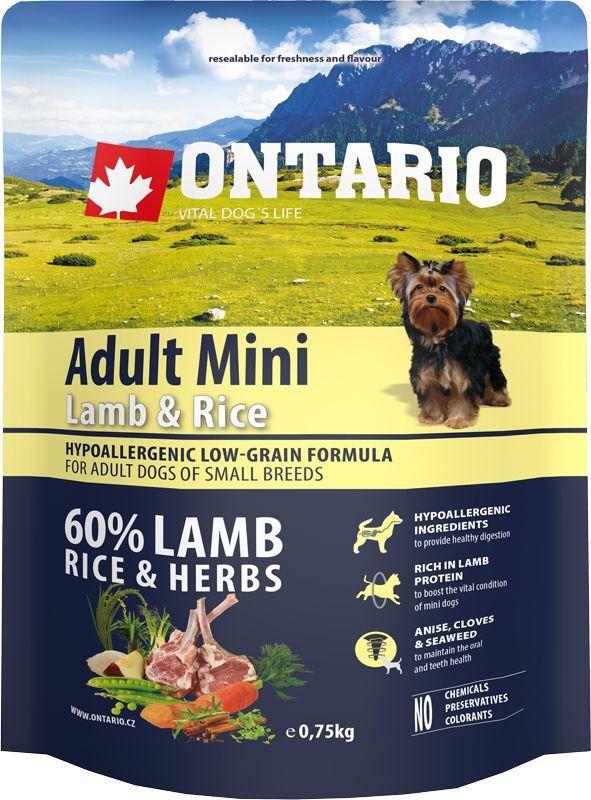 Корм сухой Ontario Adult Mini для собак мелких пород, с ягненком и рисом, 750 г0120710Полнорационный сухой корм Ontario Adult Mini имеет гипоаллергенную формулу с низким содержанием зерновых. Предназначен для взрослых собак малых пород.Сбалансированный состав для здорового функционирования всего организма. Высокое содержание белка из мяса ягненка для поддержания здоровья и хорошего самочувствия собаки. Гипоаллергенные ингредиенты обеспечивают здоровое пищеварение. Пивные дрожжи содержат витамины группы В и ферменты, способствуют росту полезных бактерий в кишечнике. Дрожжи улучшают состояние кожи и шерсти животных.Лососевый жир богат незаменимыми жирными кислотами Омега 3, оказывающими благотворное влияние на все органы и системы организма, особенно на шерсть животных. Омега 3 и Омега 6 жирные кислоты являются важными компонентами для поддержки функций сердца. Яблоки богаты клетчаткой (пектином), способствующей пищеварению и выводящей токсины из кишечника, а также являются источником витаминов и антиоксидантов.Содержащийся в корме специальный микс трав и специй, особенно аниса, гвоздики и морских водорослей, способствует поддержанию гигиены полости рта и здоровья зубов.Маннанолигосахариды естественным образом поддерживают работу кишечника и улучшают общее состояние здоровья животных.Состав: дегидрированный ягненок (27%), рис (20%), груша, рисовые отруби (13%), куриный жир, сушеные яблоки, пивные дрожжи, рыбий жир, сушеная морковь, маннанолигосахариды (180 мг/кг), фруктоолигосахариды(120 мг/кг), смесь морских водорослей, фенхель, тимьян, корица, анис, гвоздика, розмарин и юкка (120 мг/кг). Гарантированный анализ: белок 27,0%, жир 17,0%, влага 10,0%, зола 7,5%, клетчатка 3,0%, кальций 1,6%, фосфор 1,3%, натрий 0,4%, магний 0,06%.Добавки: витамин A (E672) 20 000 IU, витамин D3 (E671) 1 800 IU, витамин E (альфа-токоферол) (3a700) 500 мг, витамин B1 1,2 мг, витамин B2 4,5 мг, витамин B6 (3a831) 1,2 мг, витамин B12 0,05 мг, цинк (E6) 100 мг, железо (E1) 88 мг, марганец (E5
