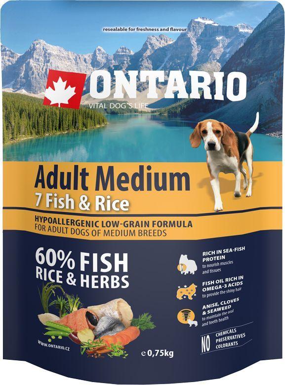 Корм сухой Ontario Adult Medium для собак средних пород, с 7 видами рыбы и рисом, 750 г0120710Полнорационный сухой корм Ontario Adult Medium имеет гипоаллергенную формулу с низким содержанием зерновых. Предназначен для взрослых собак средних пород.Сбалансированный состав для здорового функционирования всего организма. Главным достоинством корма является высокое содержание белка из рыбы, необходимое для развития мышечной ткани и опорно-двигательного аппарата. Пивные дрожжи содержат витамины группы В и ферменты, способствуют росту полезных бактерий в кишечнике. Дрожжи улучшают состояние кожи и шерсти животных.Лососевый жир богат незаменимыми жирными кислотами Омега 3, оказывающими благотворное влияние на все органы и системы организма, особенно на шерсть животных. Омега 3 и Омега 6 жирные кислоты являются важными компонентами для поддержки функций сердца. Яблоки богаты клетчаткой (пектином), способствующей пищеварению и выводящей токсины из кишечника, а также являются источником витаминов и антиоксидантов. Специальная смесь трав и специй, особенно аниса, гвоздики и морских водорослей, способствует поддержанию гигиены полости рта и здоровья зубов.Маннанолигосахариды естественным образом поддерживают работу кишечника и улучшают общее состояние здоровья животных.Фруктоолигосахариды стимулируют рост нормальной микрофлоры кишечника (лакто- и бифидобактерий); подавляют развитие патогенных бактерий, предупреждают возникновение дисбактериоза, улучшают переваривание и поглощение питательных веществ.Состав: дегидрированная морская рыба (сельдь, килька, песчанка, мойва, сардина, треска) (25%), рис (24%), груша, дегидрированный лосось (11%), куриный жир, сушеные яблоки, пивные дрожжи, рыбий жир, сушеная морковь, маннанолигосахариды (180 мг/кг), фруктоолигосахариды (120 мг/кг), смесь морских водорослей, фенхель, тимьян, корица, анис, гвоздика, розмарин и юкка (120 мг/кг).Гарантированный анализ: белок 27%, жир 16%, влага 10%, зола 6,5%, клетчатка 2,5%, кальций 1,1%, фосфор 0,9%, на