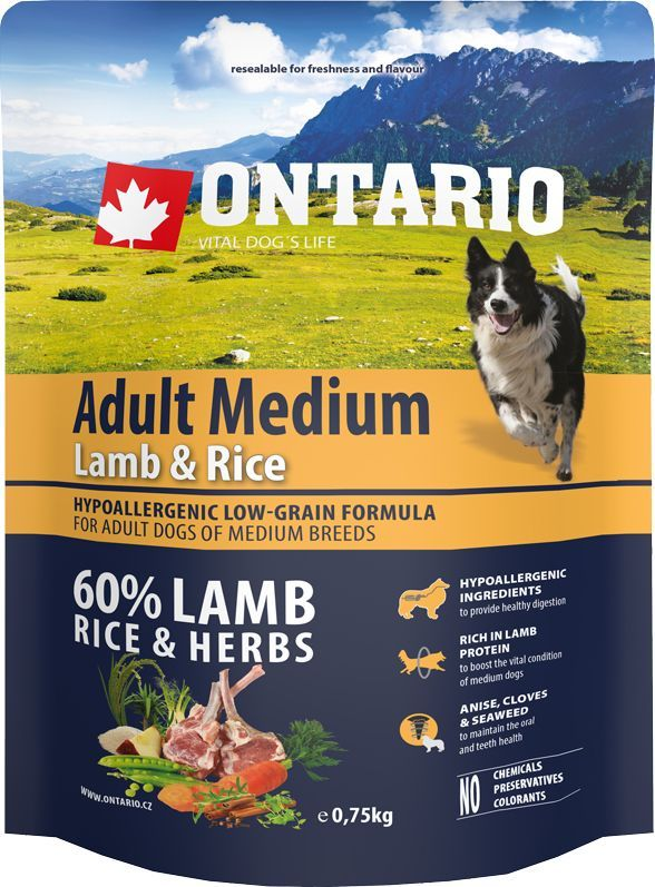 Корм сухой Ontario Adult Medium для собак средних пород, с ягненком и рисом, 750 г0120710Полнорационный сухой корм Ontario Adult Medium имеет гипоаллергенную формулу с низким содержанием зерновых для собак средних пород. Сбалансированный состав для здорового функционирования всего организма. Высокое содержание белка из мяса ягненка для поддержания здоровья и хорошего самочувствия собаки. Гипоаллергенные ингредиенты обеспечивают здоровое пищеварение. Пивные дрожжи содержат витамины группы В и ферменты, способствуют росту полезных бактерий в кишечнике. Дрожжи улучшают состояние кожи и шерсти животных.Лососевый жир богат незаменимыми жирными кислотами Омега 3, оказывающими благотворное влияние на все органы и системы организма, особенно на шерсть животных. Омега 3 и Омега 6 жирные кислоты являются важными компонентами для поддержки функций сердца. Яблоки богаты клетчаткой (пектином), способствующей пищеварению и выводящей токсины из кишечника, а также являются источником витаминов и антиоксидантов.Содержащийся в корме специальный микс трав и специй, особенно аниса, гвоздики, смеси морских водорослей способствует поддержанию гигиены полости рта и здоровья зубов.Маннанолигосахариды естественным образом поддерживают работу кишечника и улучшают общее состояние здоровья животных.Состав: дегидрированный ягненок (22%), рис (21%), груша, рисовые отруби (10%), куриный жир, индейка (7%), сушеные яблоки, пивные дрожжи, рыбий жир, сушеная морковь, маннанолигосахариды (180 мг/кг), фруктоолигосахариды(120 мг/кг), смесь морских водорослей, фенхель, тимьян, корица, анис, гвоздика, розмарин и юкка (120 мг/кг).Гарантированный анализ: белок 25,0%, жир 15,0%, влага 10,0%, зола 6,5%, клетчатка 2,5%, кальций 1,5%, фосфор 1,2%, натрий 0,1%, магний 0,08%.Добавки: витамин A (E672) 20 000 IU, витамин D3 (E671) 1 800 IU, витамин E (альфа-токоферол) (3a700) 500 мг, витамин B1 1,2 мг, витамин B2 4,5 мг, витамин B6 (3a831) 1,2 мг, витамин B12 0,05 мг, цинк (E6) 100 мг, железо (E1) 88 мг, марганец (