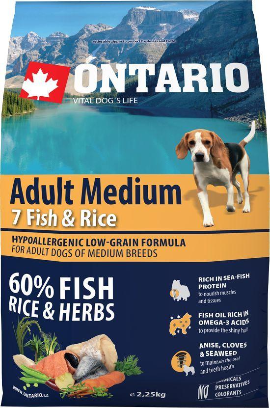 Корм сухой Ontario Adult Medium для собак средних пород, с 7 видами рыбы и рисом, 2,25 кг101246Полнорационный сухой корм Ontario Adult Medium имеет гипоаллергенную формулу с низким содержанием зерновых. Предназначен для взрослых собак средних пород.Сбалансированный состав для здорового функционирования всего организма. Главным достоинством корма является высокое содержание белка из рыбы, необходимое для развития мышечной ткани и опорно-двигательного аппарата. Пивные дрожжи содержат витамины группы В и ферменты, способствуют росту полезных бактерий в кишечнике. Дрожжи улучшают состояние кожи и шерсти животных.Лососевый жир богат незаменимыми жирными кислотами Омега 3, оказывающими благотворное влияние на все органы и системы организма, особенно на шерсть животных. Омега 3 и Омега 6 жирные кислоты являются важными компонентами для поддержки функций сердца. Яблоки богаты клетчаткой (пектином), способствующей пищеварению и выводящей токсины из кишечника, а также являются источником витаминов и антиоксидантов. Специальная смесь трав и специй, особенно аниса, гвоздики и морских водорослей, способствует поддержанию гигиены полости рта и здоровья зубов.Маннанолигосахариды естественным образом поддерживают работу кишечника и улучшают общее состояние здоровья животных.Фруктоолигосахариды стимулируют рост нормальной микрофлоры кишечника (лакто- и бифидобактерий); подавляют развитие патогенных бактерий, предупреждают возникновение дисбактериоза, улучшают переваривание и поглощение питательных веществ.Состав: дегидрированная морская рыба (сельдь, килька, песчанка, мойва, сардина, треска) (25%), рис (24%), груша, дегидрированный лосось (11%), куриный жир, сушеные яблоки, пивные дрожжи, рыбий жир, сушеная морковь, маннанолигосахариды (180 мг/кг), фруктоолигосахариды (120 мг/кг), смесь морских водорослей, фенхель, тимьян, корица, анис, гвоздика, розмарин и юкка (120 мг/кг).Гарантированный анализ: белок 27%, жир 16%, влага 10%, зола 6,5%, клетчатка 2,5%, кальций 1,1%, фосфор 0,9%, н