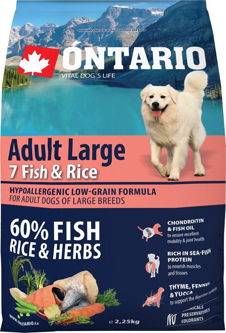 Корм сухой Ontario Adult Large, для собак крупных пород, с 7 видами рыбы и рисом, 2,25 кг0120710Гипоаллергенная формула с низким содержанием зерновых для взрослых собак крупных пород. Полнорационный корм для собак.Сбалансированный состав для здорового функционирования всего организма. Для собак крупных пород особенно важно здоровье опорно-двигательного аппарата, поэтому корм обогащен хондроитином и рыбьим жиром для поддержания превосходной подвижности и здоровья суставов. Высокое содержание рыбного белка важно для правильно формирования мышечной ткани. Пивные дрожжи содержат витамины группы В и ферменты, способствуют росту полезных бактерий в кишечнике. Дрожжи улучшают состояние кожи и шерсти животных.Лососевый жир богат незаменимыми жирными кислотами Омега 3, оказывающими благотворное влияние на все органы и системы организма, особенно на шерсть животных. Омега 3 и Омега 6 жирные кислоты являются важными компонентами для поддержки функций сердца. Яблоки богаты клетчаткой (пектином), способствующей пищеварению и выводящей токсины из кишечника, а также являются источником витаминов и антиоксидантов.Специальная смесь трав и специй, особенно аниса, гвоздики и морских водорослей, способствует поддержанию гигиены полости рта и здоровья зубов.Маннанолигосахариды естественным образом поддерживают работу кишечника и улучшают общее состояние здоровья животных.Фруктоолигосахариды стимулируют рост нормальной микрофлоры кишечника (лакто- и бифидобактерий); подавляют развитие патогенных бактерий, предупреждают возникновение дисбактериоза, улучшают переваривание и поглощение питательных веществ.Рекомендации по кормлению: Давать ком сухим или слегка увлажненным. Всегда обеспечивайте собаке доступ к свежей воде. Количество корма, ежедневно необходимое собаке, зависит от окружающих условий, размера, возраста и уровня активности. Рекомендуемая дневная норма приведена в таблице. Для поддержания надлежащего состояния, следите, чтобы ваша собака была физически активна и не перекармливай