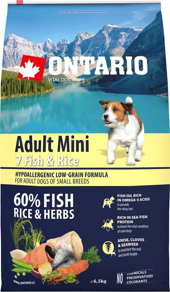 Корм сухой Ontario Adult Mini, для собак малых пород, с 7 видами рыбы и рисом, 6,5 кг0120710Полнорационный корм для собак. Высокое содержание белка из рыбы, обеспечивает здоровье и хорошее самочувствие собак. Пивные дрожжи содержат витамины группы В и ферменты, способствуют росту полезных бактерий в кишечнике. Дрожжи улучшают состояние кожи и шерсти животных.Лососевый жир богат незаменимыми жирными кислотами Омега 3, оказывающими благотворное влияние на все органы и системы организма, особенно на шерсть животных. Омега 3 и Омега 6 жирные кислоты являются важными компонентами для поддержки функций сердца. Яблоки богаты клетчаткой (пектином), способствующей пищеварению и выводящей токсины из кишечника, а также являются источником витаминов и антиоксидантов. Специальная смесь трав и специй, особенно аниса, гвоздики и морских водорослей, способствует поддержанию гигиены полости рта и здоровья зубов.Маннанолигосахариды естественным образом поддерживают работу кишечника и улучшают общее состояние здоровья животных.Фруктоолигосахариды стимулируют рост нормальной микрофлоры кишечника (лакто- и бифидобактерий); подавляют развитие патогенных бактерий, предупреждают возникновение дисбактериоза, улучшают переваривание и поглощение питательных веществ.Рекомендации по кормлению: Давать ком сухим или слегка увлажненным. Всегда обеспечивайте собаке доступ к свежей воде. Количество корма, ежедневно необходимое собаке, зависит от окружающих условий, размера, возраста и уровня активности. Рекомендуемая дневная норма приведена в таблице. Для поддержания надлежащего состояния, следите, чтобы ваша собака была физически активна и не перекармливайте.Состав: дегидрированная морская рыба (сельдь, килька, песчанка, мойва, сардина, треска) (26%), рис (24%), груша, дегидрированный лосось (10%), куриный жир, сушеные яблоки, пивные дрожжи, рыбий жир, сушеная морковь, маннанолигосахариды (180 мг/кг), фруктоолигосахариды(120 мг/кг), смесь морских водорослей, фенхель, тимьян, корица, анис, гвоздика,