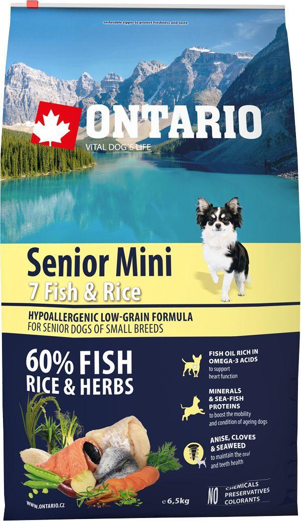Корм сухой Ontario Senior Mini, для пожилых собак малых пород, с 7 видами рыбы и рисом, 6,5 кг0120710Гипоаллергенная формула с низким содержанием зерновых для пожилых собак мелких пород (старше 8 лет). Полнорационный корм для собак. Сбалансированный состав для здорового функционирования всего организма пожилых собак. Пивные дрожжи содержат витамины группы В и ферменты, способствуют росту полезных бактерий в кишечнике. Дрожжи улучшают состояние кожи и шерсти животных.Лососевый жир богат незаменимыми жирными кислотами Омега 3, оказывающими благотворное влияние на все органы и системы организма, особенно на шерсть животных. Омега 3 и Омега 6 жирные кислоты являются важными компонентами для поддержки функций сердца. Яблоки богаты клетчаткой (пектином), способствующей пищеварению и выводящей токсины из кишечника, а также являются источником витаминов и антиоксидантов. Специальная смесь трав и специй, особенно аниса, гвоздики и морских водорослей, способствует поддержанию гигиены полости рта и здоровья зубов.Маннанолигосахариды естественным образом поддерживают работу кишечника и улучшают общее состояние здоровья животных.Фруктоолигосахариды стимулируют рост нормальной микрофлоры кишечника (лакто- и бифидобактерий); подавляют развитие патогенных бактерий, предупреждают возникновение дисбактериоза, улучшают переваривание и поглощение питательных веществ.Рекомендации по кормлению: Давать ком сухим или слегка увлажненным. Всегда обеспечивайте собаке доступ к свежей воде. Количество корма, ежедневно необходимое собаке, зависит от окружающих условий, размера, возраста и уровня активности. Рекомендуемая дневная норма приведена в таблице. Для поддержания надлежащего состояния, следите, чтобы ваша собака была физически активна и не перекармливайте.Состав: дегидрированная морская рыба (сельдь, килька, песчанка, мойва, сардина, треска) (24%), рис (24%), груша, дегидрированный лосось (12%), куриный жир, сушеные яблоки, пивные дрожжи, рыбий жир, сушеная морковь, маннанолигосахариды (