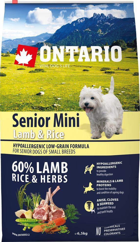 Корм сухой Ontario Senior Mini для пожилых собак мелких пород, с ягненком и рисом, 6,5 кг46615Полнорационный сухой корм Ontario Senior Mini имеет гипоаллергенную формулу с низким содержанием зерновых. Предназначен для пожилых собак мелких пород (старше 8 лет). Сбалансированный состав для здорового функционирования всего организма пожилых собак, гипоаллергенные ингредиенты для правильного пищеварения. Высокое содержание минералов и белка из мяса ягненка для поддержания здоровья и хорошего самочувствия собаки. Пивные дрожжи содержат витамины группы В и ферменты, способствуют росту полезных бактерий в кишечнике, улучшают состояние кожи и шерсти животных.Лососевый жир богат незаменимыми жирными кислотами Омега-3, оказывающими благотворное влияние на все органы и системы организма, особенно на шерсть животных. Омега-3 и Омега-6 жирные кислоты являются важными компонентами для поддержки функций сердца. Яблоки богаты клетчаткой (пектином), способствующей пищеварению и выводящей токсины из кишечника, а также являются источником витаминов и антиоксидантов.Специальная смесь трав и специй, особенно аниса, гвоздики и морских водорослей, способствует поддержанию гигиены полости рта и здоровья зубов.Маннанолигосахариды естественным образом поддерживают работу кишечника и улучшают общее состояние здоровья животных.Состав: дегидрированный ягненок (25%), рис (20%), груша, рисовые отруби (10%), куриный жир, индейка (5%), сушеные яблоки, пивные дрожжи, рыбий жир, сушеная морковь, маннанолигосахариды (210 мг/кг), фруктоолигосахариды(140 мг/кг), смесь морских водорослей, фенхель, тимьян, корица, анис, гвоздика, розмарин и юкка (140 мг/кг). Гарантированный анализ: белок 25%, жир 14%, влага 10%, зола 7%, клетчатка 3,2%, кальций 1,5%, фосфор 1,2%, натрий 0,4%, магний 0,06%.Добавки: витамин A (E672) 20 000 IU, витамин D3 (E671) 1 800 IU, витамин E (альфа-токоферол) (3a700) 500 мг, витамин B1 1,2 мг, витамин B2 4,5 мг, витамин B6 (3a831) 1,2 мг, витамин B12 0,05 мг, цинк (E6) 100 мг, железо 