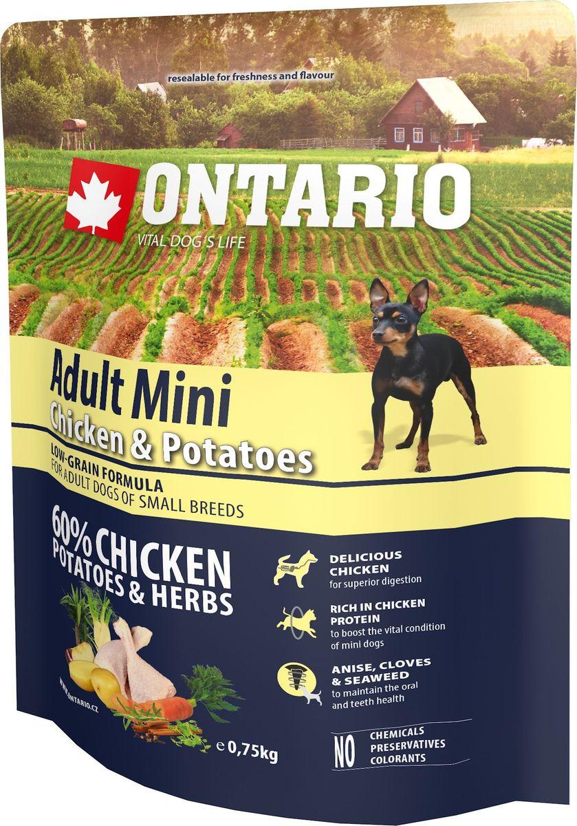 Корм сухой Ontario Adult Mini для собак мелких пород, с курицей и картофелем, 750 г12171996Полнорационный сухой корм супер-премиум класса Ontario Adult Mini имеет гипоаллергенную формулу с низким содержанием зерновых. Предназначен для собак мелких пород. Сбалансированный состав для здорового функционирования всего организма. Высокое содержание белка из мяса курицы для поддержания здоровья и хорошего самочувствия собаки. Пивные дрожжи содержат витамины группы В и ферменты, способствуют росту полезных бактерий в кишечнике. Дрожжи улучшают состояние кожи и шерсти животных.Лососевый жир богат незаменимыми жирными кислотами Омега 3, оказывающими благотворное влияние на все органы и системы организма, особенно на шерсть животных. Омега 3 и Омега 6 жирные кислоты являются важными компонентами для поддержки функций сердца. Яблоки богаты клетчаткой (пектином), способствующей пищеварению и выводящей токсины из кишечника, а также являются источником витаминов и антиоксидантов. Специальная смесь трав и специй, особенно аниса, гвоздики и морских водорослей, способствует поддержанию гигиены полости рта и здоровья зубов.Маннанолигосахариды естественным образом поддерживают работу кишечника и улучшают общее состояние здоровья животных.Фруктоолигосахариды стимулируют рост нормальной микрофлоры кишечника (лакто- и бифидобактерий), подавляют развитие патогенных бактерий, предупреждают возникновение дисбактериоза, улучшают переваривание и поглощение питательных веществ.Состав: дегидрированная курица (34%), картофельные хлопья (20%), рис, сушеные яблоки, куриный жир, гидролизированный куриный белок (6%), пивные дрожжи, рыбий жир, сушеная морковь, маннанолигосахариды (180 мг/кг), фруктоолигосахариды (120 мг/кг), смесь морских водорослей, фенхель, тимьян, корица, анис, гвоздика, розмарин и юкка (120 мг/кг).Гарантированный анализ: белок 27,0%, жир 16,0%, влага 10,0%, зола 6,5%, клетчатка 2,2%, кальций 1,5%, фосфор 1,1%, натрий 0,2%, магний 0,09%.Добавки: витамин A (E672) 20 000 IU, витамин