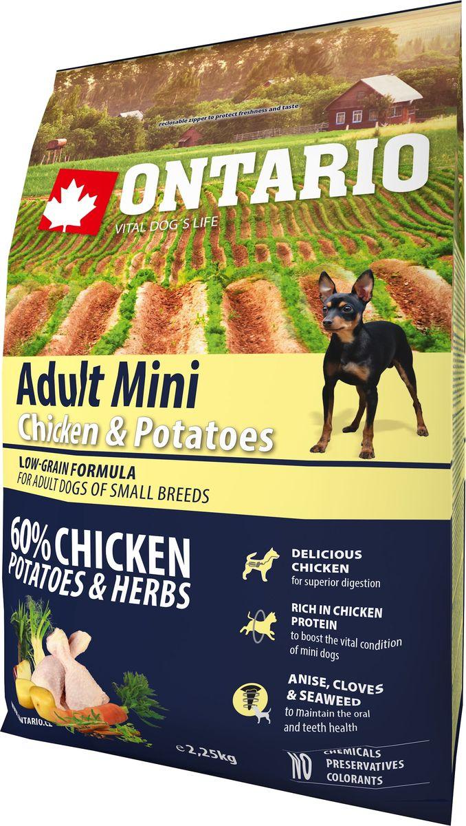 Корм сухой Ontario Adult Mini, для собак малых пород, с курицей и картофелем, 2,25 кг0120710Формула с низким содержанием зерновых для собак мелких пород. Полноценный корм супер-премиум класса для собак. Сбалансированный состав для здорового функционирования всего организма. Высокое содержание белка из мяса курицы для поддержания здоровья и хорошего самочувствия собаки. Пивные дрожжи содержат витамины группы В и ферменты, способствуют росту полезных бактерий в кишечнике. Дрожжи улучшают состояние кожи и шерсти животных.Лососевый жир богат незаменимыми жирными кислотами Омега 3, оказывающими благотворное влияние на все органы и системы организма, особенно на шерсть животных. Омега 3 и Омега 6 жирные кислоты являются важными компонентами для поддержки функций сердца. Яблоки богаты клетчаткой (пектином), способствующей пищеварению и выводящей токсины из кишечника, а также являются источником витаминов и антиоксидантов. Специальная смесь трав и специй, особенно аниса, гвоздики и морских водорослей, способствует поддержанию гигиены полости рта и здоровья зубов.Маннанолигосахариды естественным образом поддерживают работу кишечника и улучшают общее состояние здоровья животных.Фруктоолигосахариды стимулируют рост нормальной микрофлоры кишечника (лакто- и бифидобактерий); подавляют развитие патогенных бактерий, предупреждают возникновение дисбактериоза, улучшают переваривание и поглощение питательных веществ.Рекомендации по кормлению: Давать ком сухим или слегка увлажненным. Всегда обеспечивайте собаке доступ к свежей воде. Количество корма, ежедневно необходимое собаке, зависит от окружающих условий, размера, возраста и уровня активности. Рекомендуемая дневная норма приведена в таблице. Для поддержания надлежащего состояния, следите, чтобы ваша собака была физически активна и не перекармливайте ее.Состав: дегидрированная курица (34%), картофельные хлопья (20%), рис, сушеные яблоки, куриный жир, гидролизированный куриный белок (6%), пивные дрожжи, рыбий жир, сушеная морковь, 