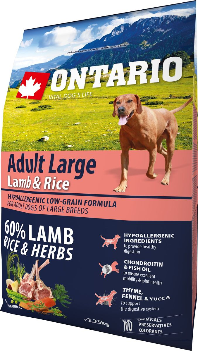 Корм сухой Ontario Adult Large, для собак крупных пород, с ягненком, индейкой и рисом, 2,25 кг0120710Гипоаллергенная формула с низким содержанием зерновых для собак крупных пород. Полноценный корм для собак супер-премиум класса.Сбалансированный состав для здорового функционирования всего организма. Для собак крупных пород особенно важно здоровье опорно-двигательного аппарата, поэтому корм обогащен хондроитином и рыбьим жиром для поддержания превосходной подвижности и здоровья суставов. Высокое содержание белка из ягненка важно для правильно формирования мышечной ткани. Пивные дрожжи содержат витамины группы В и ферменты, способствуют росту полезных бактерий в кишечнике. Дрожжи улучшают состояние кожи и шерсти животных.Лососевый жир богат незаменимыми жирными кислотами Омега 3, оказывающими благотворное влияние на все органы и системы организма, особенно на шерсть животных. Омега 3 и Омега 6 жирные кислоты являются важными компонентами для поддержки функций сердца. Яблоки богаты клетчаткой (пектином), способствующей пищеварению и выводящей токсины из кишечника, а также являются источником витаминов и антиоксидантов.Специальная смесь трав и специй, особенно аниса, гвоздики и морских водорослей, способствует поддержанию гигиены полости рта и здоровья зубов.Маннанолигосахариды естественным образом поддерживают работу кишечника и улучшают общее состояние здоровья животных.Рекомендации по кормлению: Давать ком сухим или слегка увлажненным. Всегда обеспечивайте собаке доступ к свежей воде. Количество корма, ежедневно необходимое собаке, зависит от окружающих условий, размера, возраста и уровня активности. Рекомендуемая дневная норма приведена в таблице. Для поддержания надлежащего состояния, следите, чтобы ваша собака была физически активна и не перекармливайте ее.Состав: дегидрированное мясо ягненка (23%), рис (22%), горошек, рисовые отруби (10%), куриный жир, индейка (6%), сушеные яблоки, пивные дрожжи, рыбий жир, сушеная морковь, глюкозамин сульфат (310 мг/кг), хондроит