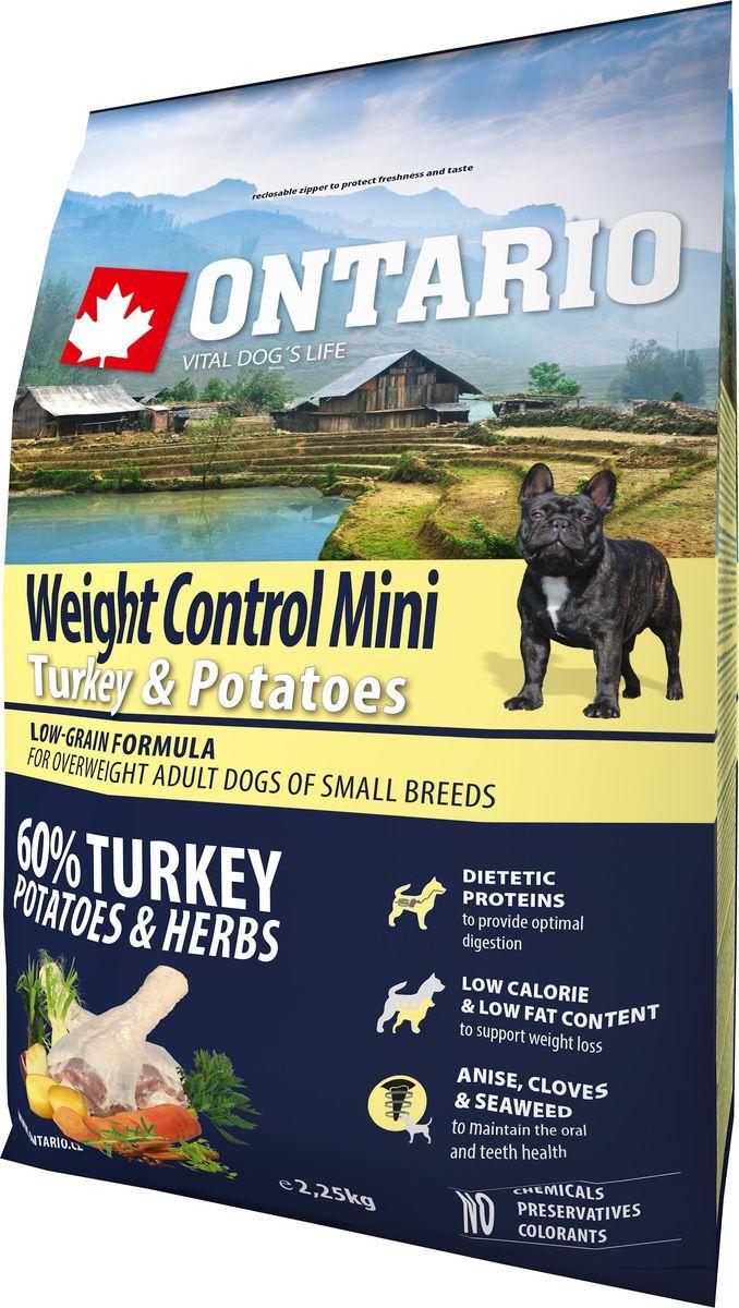 Корм сухой Ontario Mini Weight Control для собак мелких пород, с индейкой и картофелем, 2,25 кг12171996Полноценный сухой корм супер-премиум класса Ontario Mini Weight Control имеет формулу с низким содержанием зерновых. Предназначен для собак малых пород с излишним весом. Сбалансированный состав для здорового функционирования всего организма. Высокое содержание белка из мяса индейки, содержащего низкий процент жира, для поддержания здоровья и хорошего самочувствия собаки и контроля веса.Пивные дрожжи содержат витамины группы В и ферменты, способствуют росту полезных бактерий в кишечнике, улучшают состояние кожи и шерсти животных.Лососевый жир богат незаменимыми жирными кислотами Омега-3, оказывающими благотворное влияние на все органы и системы организма, особенно на шерсть животных. Омега-3 и Омега-6 жирные кислоты являются важными компонентами для поддержки функций сердца. Яблоки богаты клетчаткой (пектином), способствующей пищеварению и выводящей токсины из кишечника, а также являются источником витаминов и антиоксидантов. Специальная смесь трав и специй, особенно аниса, гвоздики и морских водорослей, способствует поддержанию гигиены полости рта и здоровья зубов.Маннанолигосахариды естественным образом поддерживают работу кишечника и улучшают общее состояние здоровья животных.Фруктоолигосахариды стимулируют рост нормальной микрофлоры кишечника (лакто- и бифидобактерий), подавляют развитие патогенных бактерий, предупреждают возникновение дисбактериоза, улучшают переваривание и поглощение питательных веществ.Состав: дегидрированное мясо индейки (34%), картофельные хлопья (26%), рис, сушеные яблоки, куриный жир, пивные дрожжи, рыбий жир, сушеная морковь, маннанолигосахариды (180 мг/кг), фруктоолигосахариды (120 мг/кг), смесь морских водорослей, фенхель, тимьян, корица, анис, гвоздика, розмарин и юкка (120 мг/кг).Гарантированный анализ: белок 28%, жир 13%, влага 10%, зола 6,2%, клетчатка 2,5%, кальций 1,5%, фосфор 1%, натрий 0,3%, магний 0,09%.Добавки: витамин A (E67