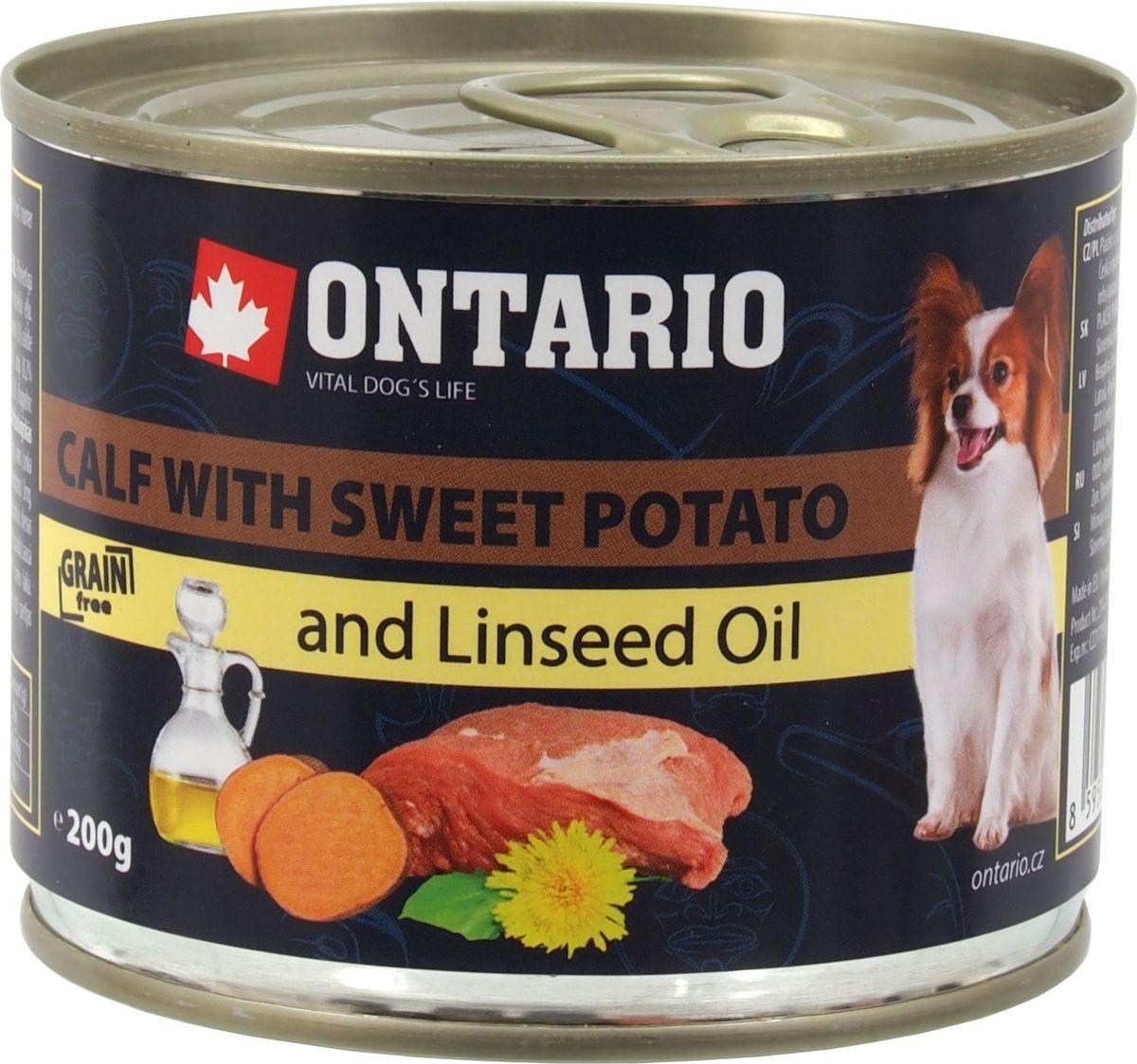 Консервы Ontario Mini для собак мелких пород, с телятиной и бататом, 200 г0120710Консервы Ontario Mini - это полнорационный корм для собак мелких пород. Для этих консервов отобраны только самые лучшие ингредиенты, чтобы порадовать вашего пушистого гурмана. При изготовлении консервов используется только отборное мясо и натуральный мясной бульон, а также витамины и минералы для поддержания здоровья питомца. Льняное масло известно своими противовоспалительными свойствами, оно оказывает положительное влияние на функцию сердца и почек, улучшает обмен веществ и укрепляет иммунитет, способствует усвоению витаминов. Одуванчик богат витаминами и микроэлементами, содержит жирные масла и органические кислоты, а также такие вещества, как тараксацин и тараксацерин, способствующие пищеварению.Состав: 65% мясо и его производные (из которых 30% телятина), бульон (28,3%), овощи (5% картофель), 1% минералы, масла и жиры (0,5% льняное масло), травы (0,2% одуванчик).Гарантированный анализ: белок 10,3%, жир 6,2%, зола 2%, клетчатка 0,4%, влага 75%.Добавки: Витамин D3 200 МЕ, Витамин E, all rac-альфа-токоферол ацетат 30 мг, Моногидрат сульфата цинка 15 мг, Сульфат марганца II моногидрат 3 мг, Йодат кальция безводного 0,75 мг.Товар сертифицирован.