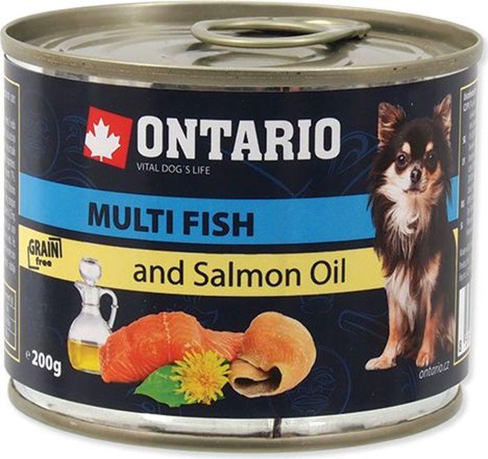 Консервы Ontario Mini для собак мелких пород, рыбное ассорти, 200 г0120710Консервы Ontario Mini - это полнорационный корм для собак мелких пород. Для этих консервов отобраны только самые лучшие ингредиенты, чтобы порадовать вашего пушистого гурмана. При изготовлении консервов используется только отборное мясо и натуральный мясной бульон, а также витамины и минералы для поддержания здоровья питомца. Лососевый жир богат незаменимыми жирными кислотами Омега 3, оказывающими благотворное влияние на все органы и системы организма, особенно на шерсть животных. Употребление незаменимых жирных кислот также способствует профилактике заболеваний сердца.Состав: 40% мясо и его производные, 30% рыба и ее производные (10% лосось, 10% форель, 10% сельдь), бульон (28,3%), 1% минералы, масла и жиры (0,5% лососевый жир), травы (0,2% одуванчик).Гарантированный анализ: белок 9,4%, жир 5,9%, зола 2,2%, клетчатка 0,3%, влага 77%.Добавки: Витамин D3 200 МЕ, Витамин E, all rac-альфа токоферол ацетат 30 мг, Моногидрат сульфата цинка 15 мг, Сульфат марганца II моногидрат 3 мг, Йодат кальция безводного 0,75 мг.Товар сертифицирован.