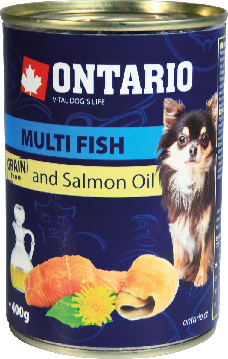 Консервы Ontario Mini для собак мелких пород, рыбное ассорти, 400 г0120710Консервы Ontario Mini - это полнорационный корм для собак мелких пород. Для этих консервов отобраны только самые лучшие ингредиенты, чтобы порадовать вашего пушистого гурмана. При изготовлении консервов используется только отборное мясо и натуральный мясной бульон, а также витамины и минералы для поддержания здоровья питомца. Лососевый жир богат незаменимыми жирными кислотами Омега 3, оказывающими благотворное влияние на все органы и системы организма, особенно на шерсть животных. Употребление незаменимых жирных кислот также способствует профилактике заболеваний сердца.Состав: 40% мясо и его производные, 30% рыба и ее производные (10% лосось, 10% форель, 10% сельдь), бульон (28,3%), 1% минералы, масла и жиры (0,5% лососевый жир), травы (0,2% одуванчик).Гарантированный анализ: белок 9,4%, жир 5,9%, зола 2,2%, клетчатка 0,3%, влага 77%.Добавки: Витамин D3 200 МЕ, Витамин E, all rac-альфа токоферол ацетат 30 мг, Моногидрат сульфата цинка 15 мг, Сульфат марганца II моногидрат 3 мг, Йодат кальция безводного 0,75 мг.Товар сертифицирован.