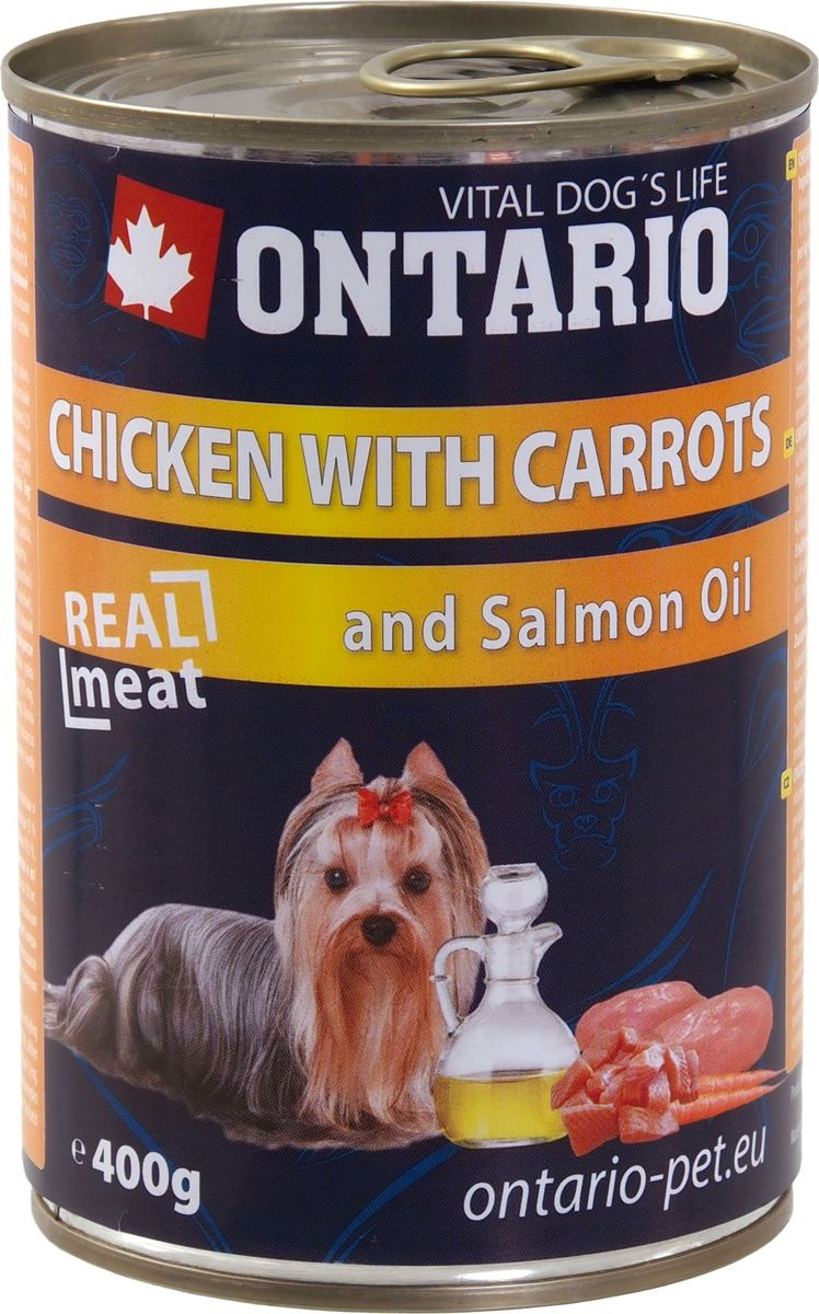Консервы для собак Ontario, с курицей и морковью, 400 г0120710Консервы Ontario - это полнорационный корм для собак. Для этих консервов отобраны только самые лучшие ингредиенты, чтобы порадовать вашего пушистого гурмана. При изготовлении консервов используется только отборное мясо и натуральный мясной бульон, а также витамины и минералы для поддержания здоровья питомца. Лососевый жир богат незаменимыми жирными кислотами Омега 3, оказывающими благотворное влияние на все органы и системы организма, особенно на шерсть животных. Употребление незаменимых жирных кислот также способствует профилактике заболеваний сердца.Состав: 65% мясо и его производные (из которых 30% курица), бульон (28,5%), овощи (5% морковь), 1% минералы, масла и жиры (0,5% лососевый жир).Гарантированный анализ: белок 10,5%, жир 6,5%, зола 2,5%, клетчатка 0,4%, влага 76%.Добавки: витамин D3 200 МЕ, витамин E, all rac альфа-токоферол ацетат 30 мг, моногидрат сульфата цинка 15 мг, сульфат марганца II моногидрат 3 мг, йодат кальция безводного 0,75 мг.Товар сертифицирован.