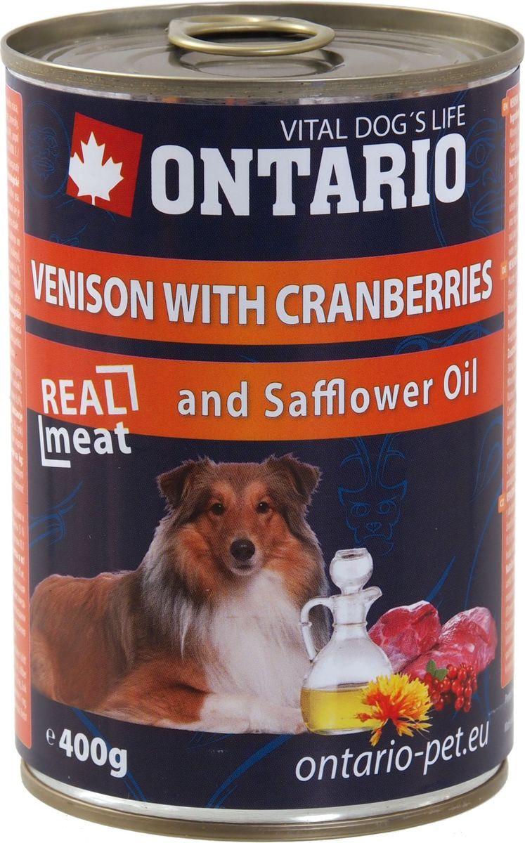 Консервы для собак Ontario, с олениной и клюквой, 400 г0120710Консервы Ontario - это полнорационный корм для собак. Для этих консервов отобраны только самые лучшие ингредиенты, чтобы порадовать вашего пушистого гурмана. При изготовлении консервов используется только отборное мясо и натуральный мясной бульон, а также витамины и минералы для поддержания здоровья питомца. Сафлоровое масло богато винами Е и К, Омега 3, способствует профилактике сердечно-сосудистых заболеваний, благотворно влияет на состояние шерсти и кожного покрова.Состав: 65% мясо и его производные (из которых 30% оленина), бульон (28,5%), фрукты (5% клюквы), 1% минералы, масла и жиры (0,5% сафлоровое масло).Гарантированный анализ: белок 10,1%, жир 6,6%, зола 2,5%, клетчатка 0,4%, влага 76%.Добавки: витамин D3 200 МЕ, витамин E, all rac альфа-токоферол ацетат 30 мг, моногидрат сульфата цинка 15 мг, сульфат марганца II моногидрат 3 мг, йодат кальция безводного 0,75 мг. Товар сертифицирован.
