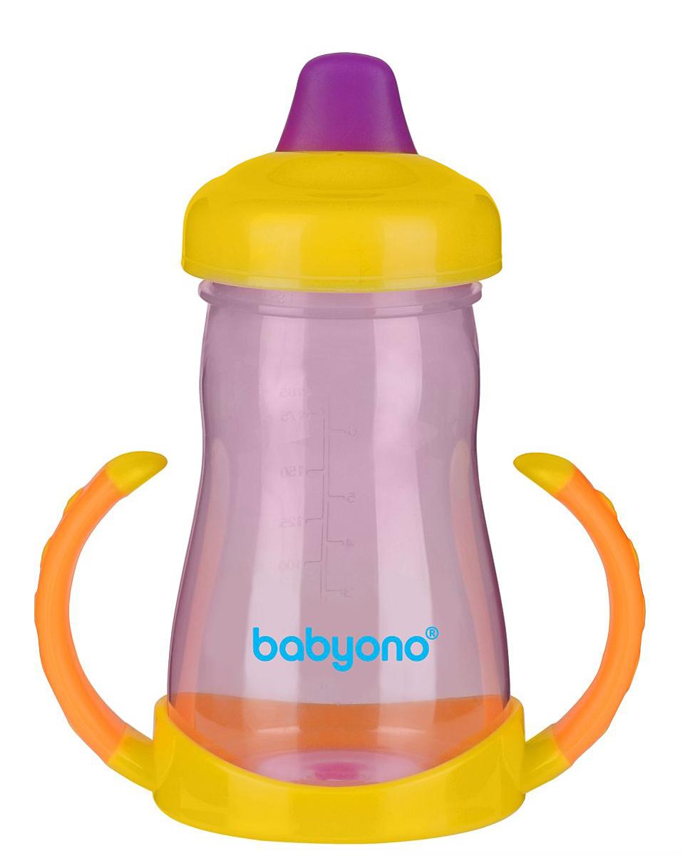 BabyOno Поильник-непроливайка от 6 месяцев цвет желтый оранжевый 220 мл