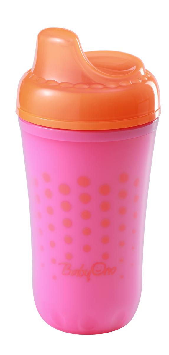 BabyOno Поильник-непроливайка от 12 месяцев цвет фуксия оранжевый 220 мл