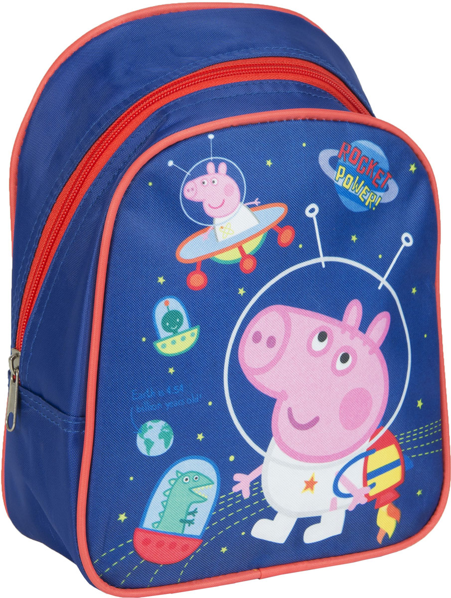 Peppa Pig Рюкзак дошкольный Свинка Пеппа цвет синий оранжевый 3203872523WDЛегкий и компактный дошкольный рюкзачок Свинка Пеппа - это красивый и удобный аксессуар для вашего ребенка. В его внутреннем отделении на молнии легко поместятся не только игрушки, но даже тетрадка или книжка формата А5. Благодаря регулируемым лямкам, рюкзачок подходит детям любого роста. Удобная ручка помогает носить аксессуар в руке или размещать на вешалке. Износостойкий материал с водонепроницаемой основой и подкладка обеспечивают изделию длительный срок службы и помогают держать вещи сухими в дождливую погоду. Аксессуар декорирован ярким принтом (сублимированной печатью), устойчивым к истиранию и выгоранию на солнце.Порадуйте свою малышку таким замечательным подарком!