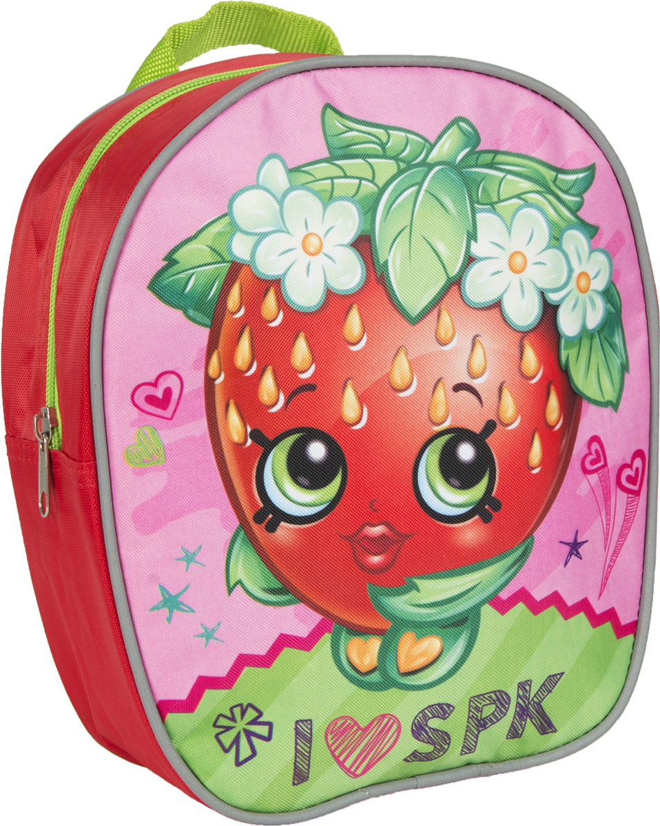 Shopkins Рюкзак дошкольный Шопкинс цвет красный31786Очаровательный дошкольный рюкзачок Шопкинс - это невероятно привлекательный аксессуар для вашего ребенка. В его внутреннем отделении на молнии легко поместятся не только игрушки, но даже тетрадка или книжка формата А5. Благодаря регулируемым лямкам, рюкзачок подходит детям любого роста. Удобная ручка помогает носить аксессуар в руке или размещать на вешалке. Износостойкий материал с водонепроницаемой основой и подкладка обеспечивают изделию длительный срок службы и помогают держать вещи сухими в дождливую погоду. Аксессуар декорирован ярким принтом (сублимированной печатью), устойчивым к истиранию и выгоранию на солнце.Порадуйте свою малышку таким замечательным подарком!