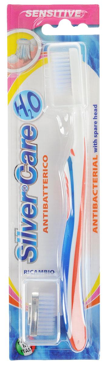 Silver Care Зубная щетка для чувствительных зубов Н2О Sensitive, мягкая, цвет: оранжевый5010777142037Антибактериальная зубная щетка с мягкой щетиной Silver Care Н2О Sensitive особенно эффективно борется с бактериальным налетом и мягко массирует десны. Компактная головка с волнообразной щетиной идеально очищает даже самые труднодоступные участки. Эргономичная ручка с резиновыми вставками обеспечивает сбалансированное давление на зубы и десны и позволяет удобно держать щетку в руке. Сменные головки с серебряным покрытием 999 пробы имеют тщательно отполированные и закругленные кончики щетинок. Серебро, покрывающее базовую поверхность головки зубной щетки Silver Care, при контакте с водой обеспечивает естественный и продолжительный процесс самодезинфекции.