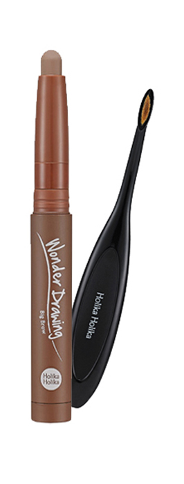 Holika Holika Большой карандаш для бровей Вандер Дроуинг, тон 03, пепельный серый, 1.2 г,20015318Широкий карандаш с кистью - идеальное средство для заполнения цветом и придания густоты бровям. Больше никаких четких линий и заметного макияжа. Мягкий карандаш одним взмахом заполняет всю поверхность брови, а специальная мягкая кисть в наборе поможет тщательно растушевать цвет, придавая вашим бровям естественный вид. Средство обладает стойким цветом и мягкой текстурой, легко поддающейся растушевывания. Еще более подчеркнутый взгляд, еще более естественный образ. Масло ши и витамин Е в составе средства увлажняют и питают кожу и волосы, придавая густоту бровям.