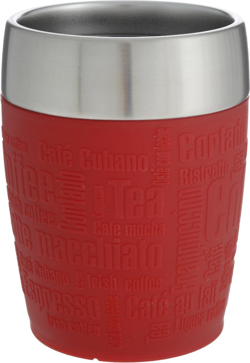 Термостакан Emsa, цвет: красный, стальной, 200 млVT-1520(SR)Термостакан Emsa удобно взять с собой на работу, в школу или в поездку. Вакуумный стакан на 100% герметичен. Изделие имеет колбу из нержавеющей стали, благодаря чему температура содержимого сохраняется долгое время. Стакан удобно держать благодаря силиконовой накладке с рельефными надписями. Изделие открывается поворотом крышки. Подходит для автомобильного подстаканника, таблеточных эспрессо-машин и кофейных автоматов, также подходит для мороженого. Высота стакана: 10,5 см. Диаметр (по верхнему краю): 8 см.