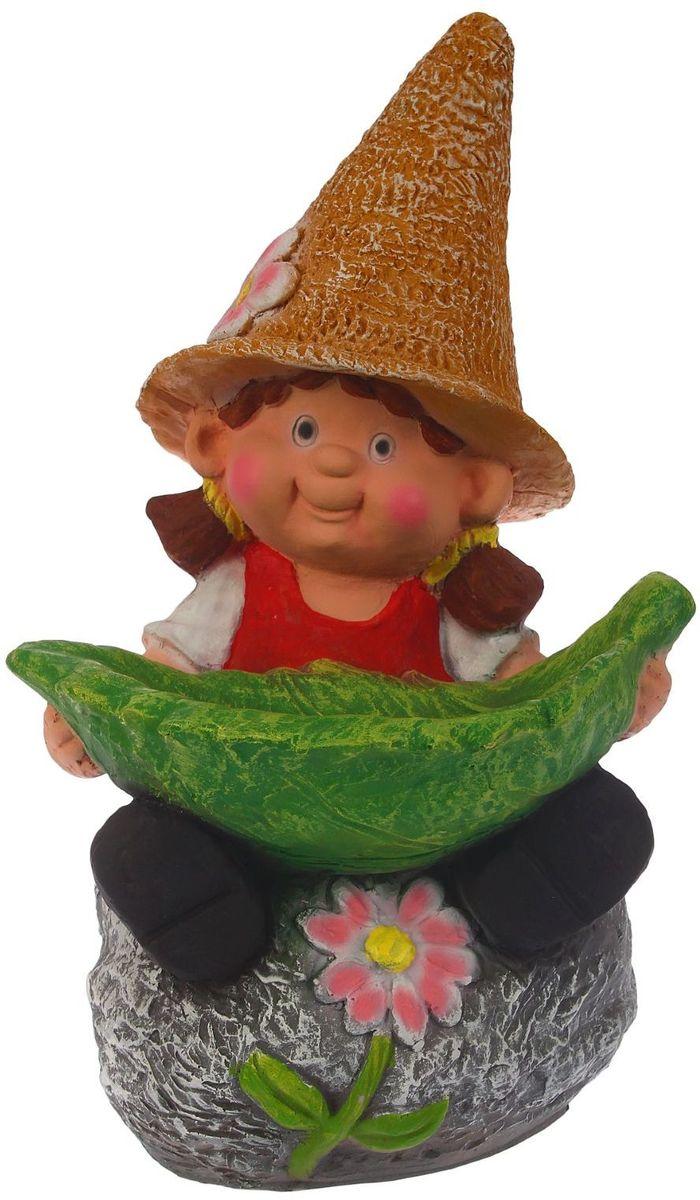 Фигура садовая Девочка на камне с листом, цвет: черный, 27 х 29 х 48 см1343714
