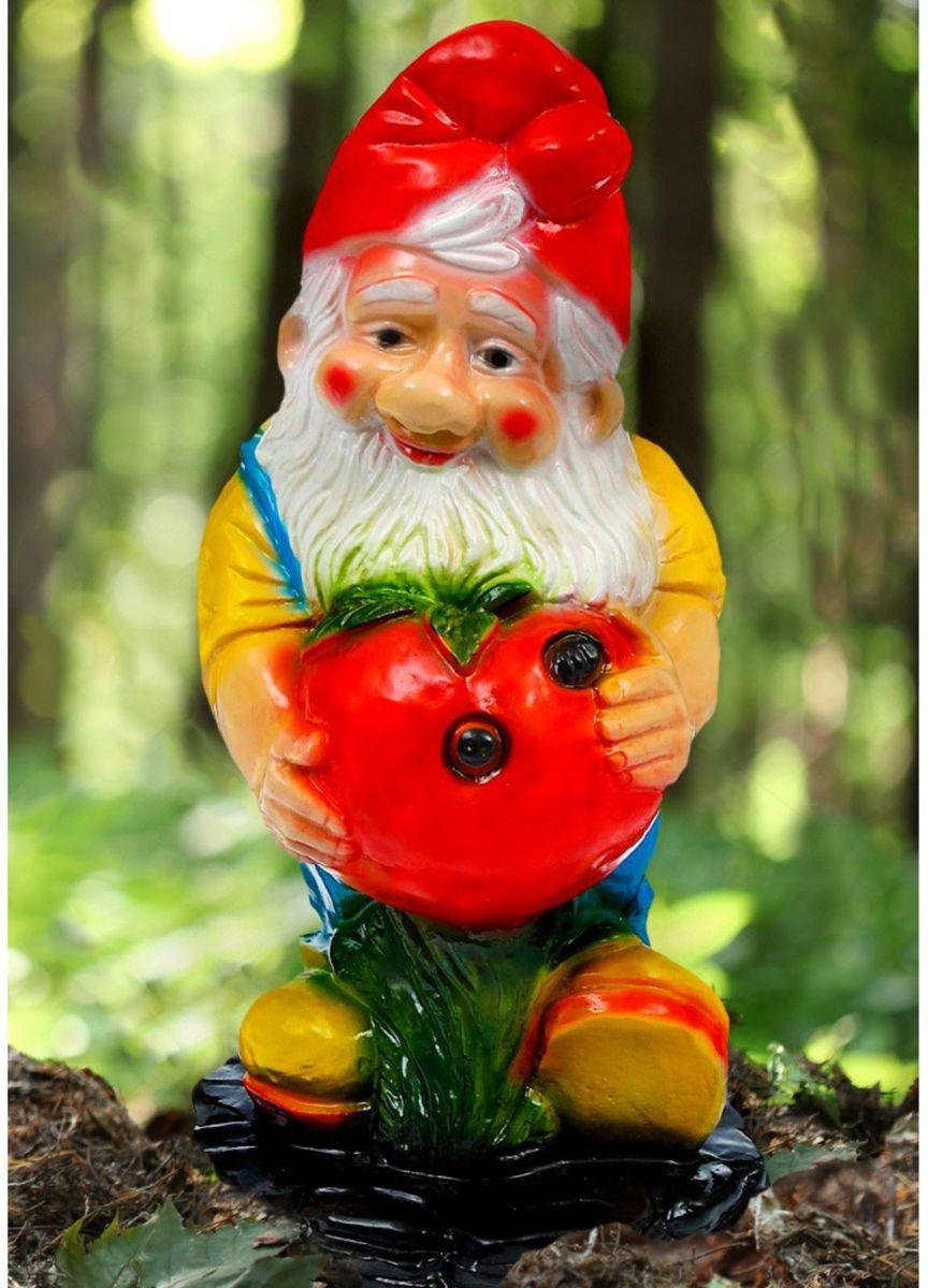 Фигура садовая Гном с яблоком, 15 х 22 х 45 смK100Забавная фигура оживит сад или огород. Яркий декор придаст окружающему пространству задорности. #name# будет охранять урожай и приносить удачу. Удивите гостей и порадуйте близких — поселите у себя на дачном участке весёлого жильца.