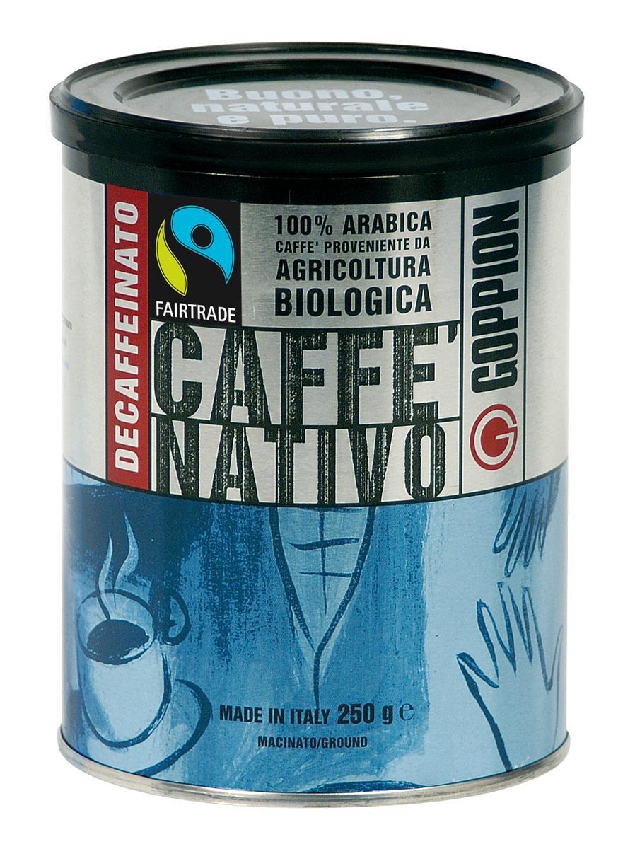 Goppion Caffe Nativo Dec кофе молотый, 250 г33185Смесь состоит из 100% Арабики, из Центральной Америки. Данный продукт является экологически чистым (сертифицированный органический продукт). Сертифицированный кофе FAIRTRADE (Справедливая торговля). Напиток обладает великолепным ароматом и имеет легкую консистенцию. Пониженное содержание кофеина - менее 0,1%.