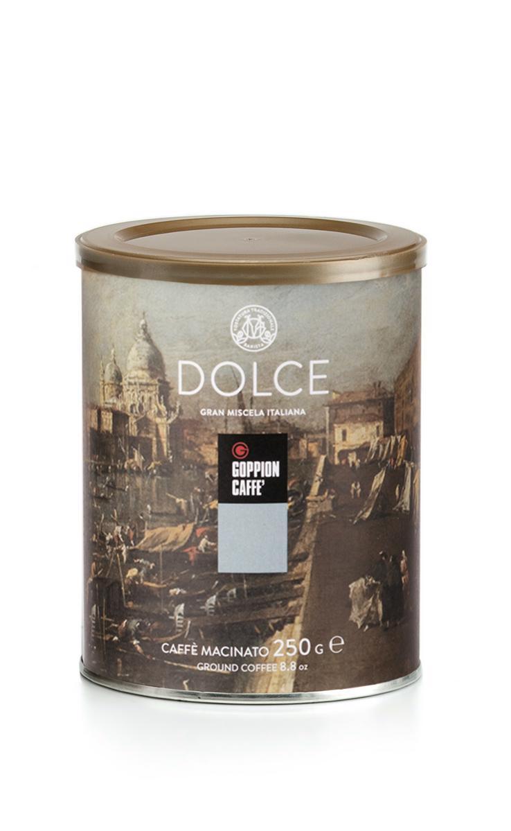 Goppion Caffe Dolce кофе молотый, 250 г8009360229047Смесь, состоящая на 90% из отборных зерен превосходной Арабики из Эфиопии, Бразилии, Гватемалы и Гондураса. Насыщенный, нежный и ярко выраженный шоколадный вкус