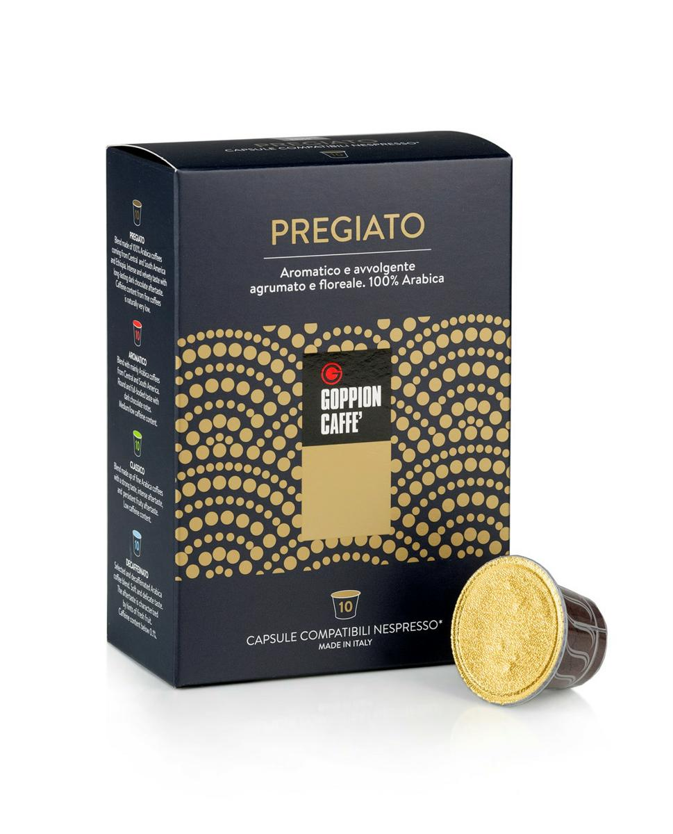 Goppion Caffe Pregiato кофе в капсулах, 10 шт8009360701932Смесь 100% Арабика из Центральной и Южной Америки и Эфиопии. Интенсивный и бархатистый вкус с длительным шоколадным послевкусием. Низкое содержание кофеина.