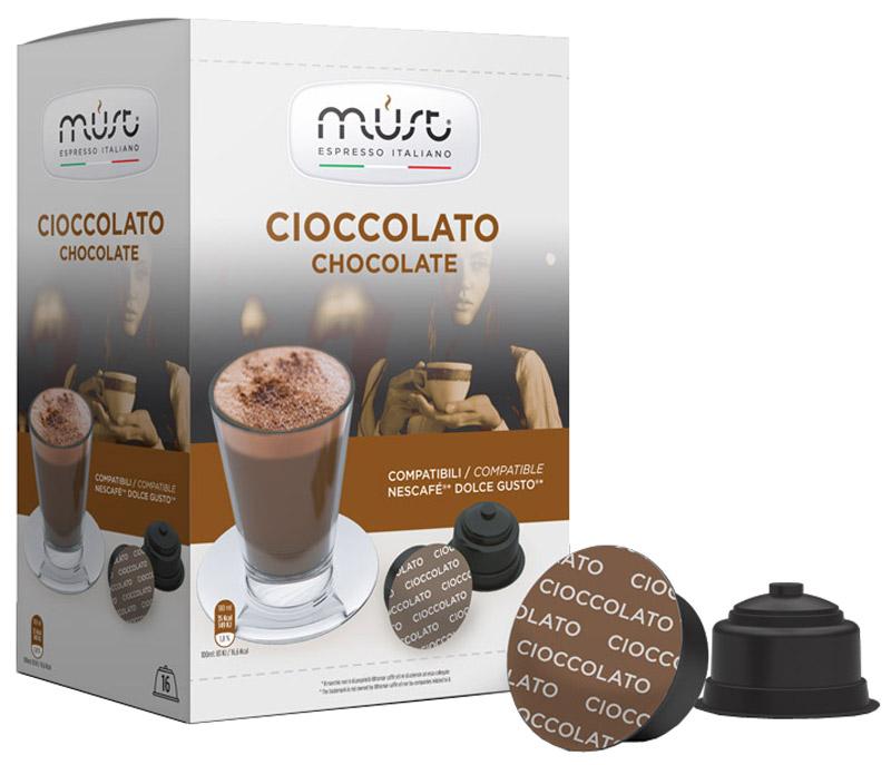 MUST DG Cioccolato какао капсульный, 16 шт0120710MUST DG Cioccolato - великолепный тонизирующий какао-напиток с неповторимым шоколадным вкусом. Стандарт капсул - Dolce Gusto.