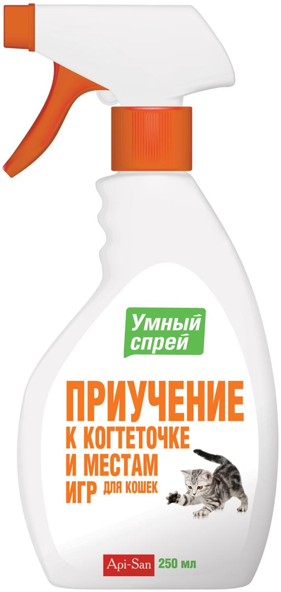 Приучение к когтеточке и местам для игр кошек Апи-Сан Умный спрей, 250 мл0120710Состав в 1 мл: эфирное масло мяты кошачьей - 6 мг, синтанол - 15 мг, спирт изопропиловый - 175 мг и вода очищенная до 1 мл. Свойства: входящий в состав зоогигиенического средства экстракт мяты кошачьей содержит химическое соединение, называемое актинидином. Именно оно и привлекает кошек.Действие препарата основано на способности актинидина воздействовать на нервную систему кошек. Флегматичные особи после контакта с зоогигиеническим средством становятся подвижными, игривыми и более контактными со своими владельцами.Зоогигиеническое средство эффективно для домашних кошек, а также и для других представителей семейства кошачьих (тигры, львы, пумы и т. д.).Применение: нанести зоогигиеническое средство на места, к которым Вы хотите привлечь внимание кошек - когтеточка, игрушки и др., это должны быть легкодоступные поверхности для животного.Повторять обработку зоогигиеническим средством с периодичностью 1 раз в день. Не орошать предметы слишком обильно, так как кошка может перестать реагировать на сильный запах мяты кошачьей.Хранение: хранят зоогигиеническое средство в защищенном от света месте, отдельно от пищевых продуктов и кормов, при температуре от 0°С до 25°С. Срок годности при соблюдении условий хранения - 2 года со дня производства. По истечении срока годности зоогигиеническое средство не должно применяться.