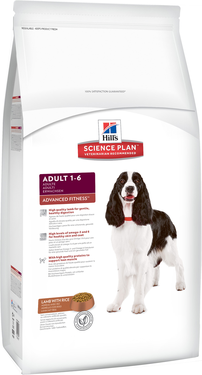 Корм сухой Hills Advanced Fitness для взрослых собак, с ягненком и рисом, 12 кг101246Сухой корм Hills Science Plan Advanced Fitness Lamb & Rice предназначен для собак от 1 года до 6 лет, мелких и средних пород, умеренно активных. Это полноценное, точно сбалансированное питание, приготовленное из ингредиентов высокого качества, без добавления красителей и консервантов. Каждый рацион Science Plan содержит эксклюзивный комплекс антиоксидантов с клинически подтвержденным эффектом для поддержки иммунной системы вашего питомца. Питательные характеристики: Белок - оптимальное содержание, для того чтобы избежать избыточного потребления. Кальций, фосфор и натрий - оптимальное содержание, для того, чтобы избежать избыточного потребления. Усвояемость - высокая. Энергетическая ценность - высокая, для того, чтобы снизить количество корма необходимое для удовлетворения энергетических потребностей. Содержит Супер Антиоксидантную Формулу для снижения окислительных повреждений клеток. Состав: ягненок и рис (минимум 26% мяса ягненка, минимум 4% риса), молотая кукуруза, мука из мяса ягненка, соевая мука, животный жир, мука из маисового глютена, молотый рис, гидролизат белка, растительное масло, семя льна, L-лизина гидрохлорид, соль, калия хлорид, DL-метионин, таурин, L-триптофан, витамины и микроэлементы. Содержит натуральные консерванты - смесь токоферолов, лимонную кислоту и экстракт розмарина. Среднее содержание нутриентов в рационе: протеины 21,6%, жиры 14,9%, углеводы 49,2%, клетчатка (общая) 1,8%, влага 8%, кальций 0,73%, фосфор 0,64%, натрий 0,23%, калий 0,64%, магний 0,1%, омега-3 жирные кислоты 0,48%, омега-6 жирные кислоты 3,2%, витамин А 9490 МЕ/кг, витамин D 400 МЕ/кг, витамин Е 600 мг/кг, витамин С 70 мг/кг, бета-каротин 1,5 мг/кг. Товар сертифицирован. Уважаемые клиенты! Обращаем ваше внимание на возможные изменения в дизайне упаковки. Качественные характеристики товара остаются неизменными. Поставка осуществляется в зависимости от наличия на складе.