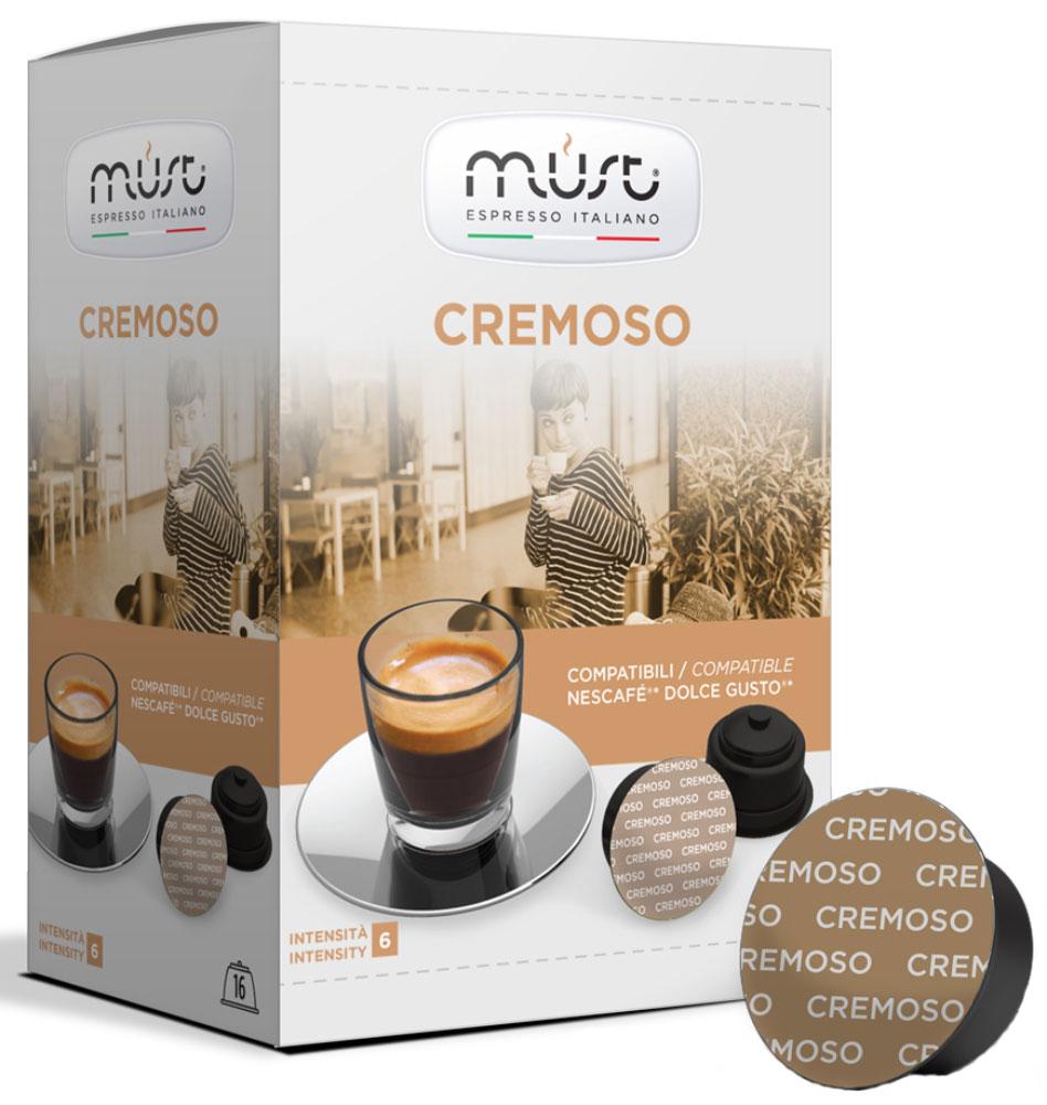 MUST DG Cremoso кофе капсульный, 16 шт5219839MUST DG Cremoso - купаж с мягким, стойким и обволакивающим ароматом. Этот кофе порадует вас и ваших близких своим многослойным вкусом со сливочными нотками, ненавязчивой горчинкой какао и ореховым ароматом. В напитке раскрываются также кисло-сладкие ноты.Уважаемые клиенты! Обращаем ваше внимание на то, что упаковка может иметь несколько видов дизайна. Поставка осуществляется в зависимости от наличия на складе.