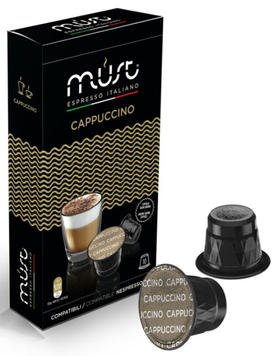 MUST Cappucino кофе капсульный, 10 шт0120710Кофе в капсулах MUST Cappucino - пример итальянского качества и мастерства обжарки кофейных зерен. Молотый кофе прессуется по новейшим инновационным технологиям, позволяющим сохранить восхитительный кофейный вкус и аромат. Этот кофе отличается густой плотной пенкой, нежным вкусом и удивительным интенсивным ароматом. Капсулы MUST Cappucino позволяют варить изысканный капучино с устойчивой бархатистой пенкой.Уважаемые клиенты! Обращаем ваше внимание на то, что упаковка может иметь несколько видов дизайна. Поставка осуществляется в зависимости от наличия на складе.